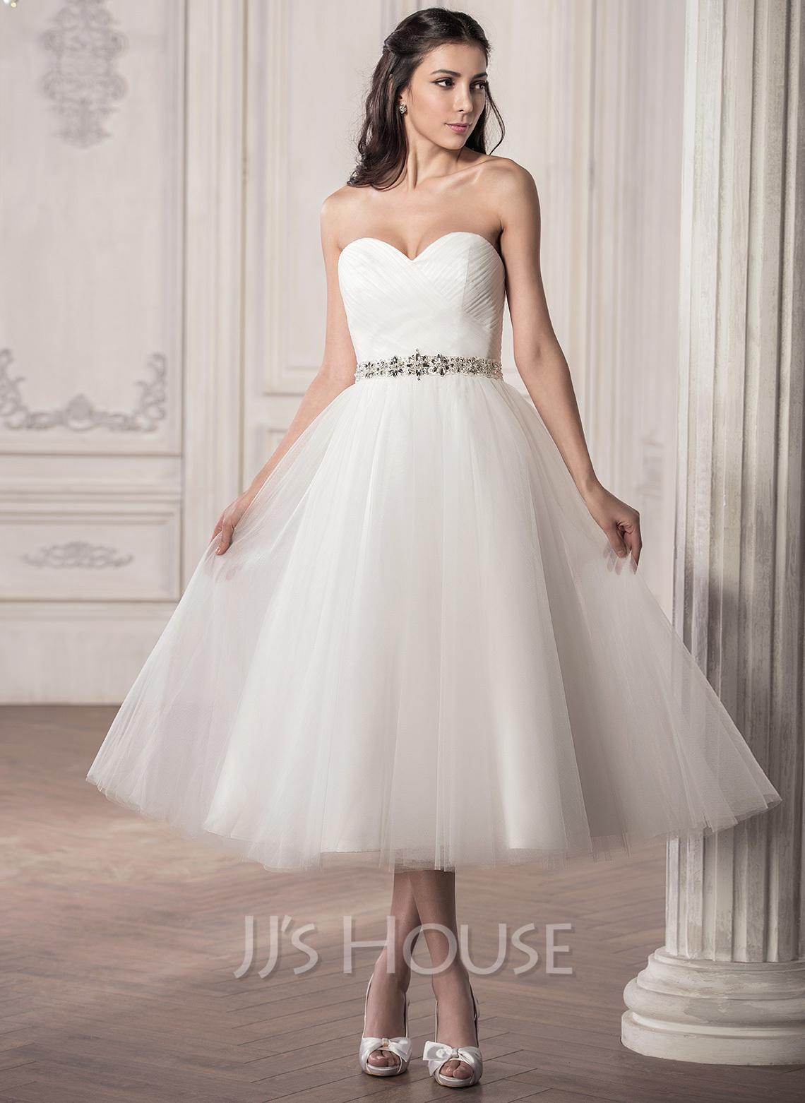 A-Line/Princess Sweetheart Tea-Length Tulle Wedding Dress With Ruffle Beading Sequins