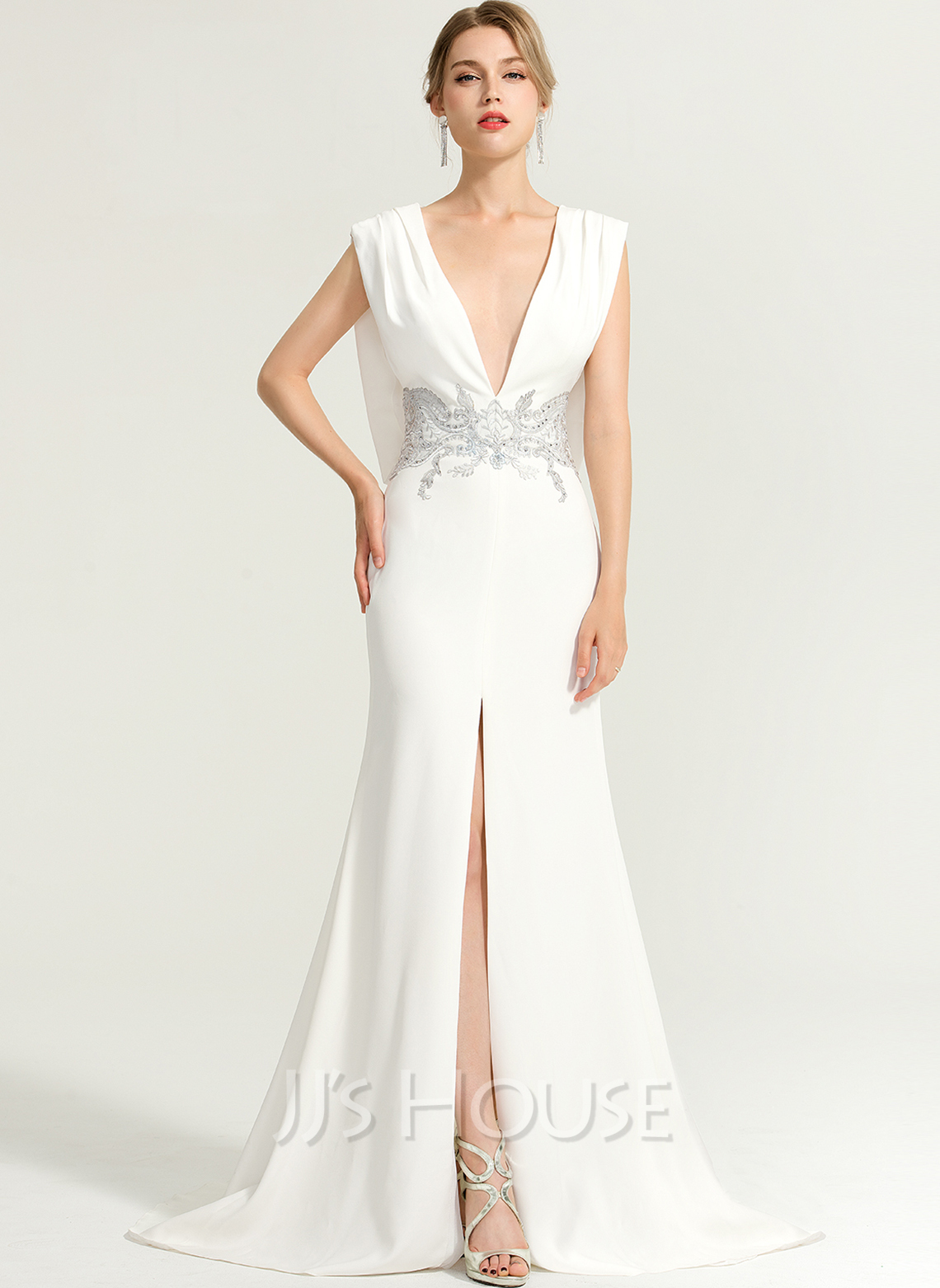 Trumpet/Mermaid V-neck Sweep Train Stretch Crepe Evening Dress With Beading Split Front