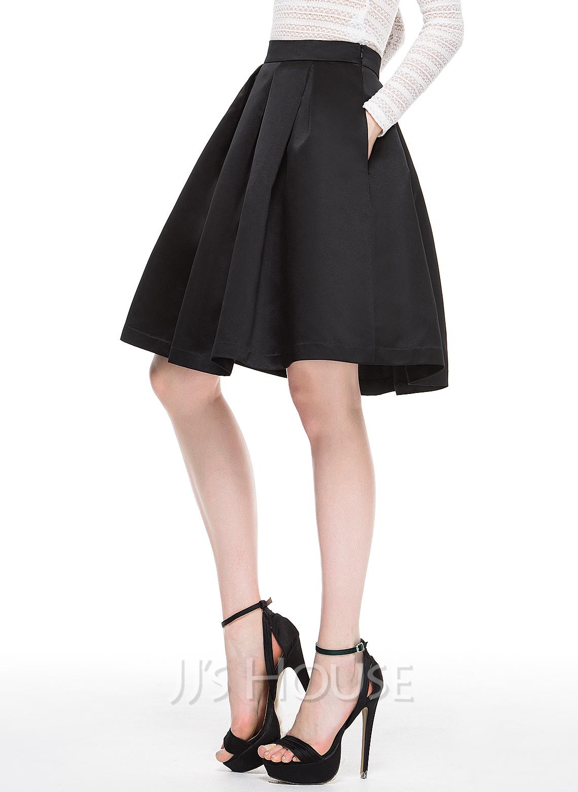 A-Line/Princess Knee-Length Satin Cocktail Skirt