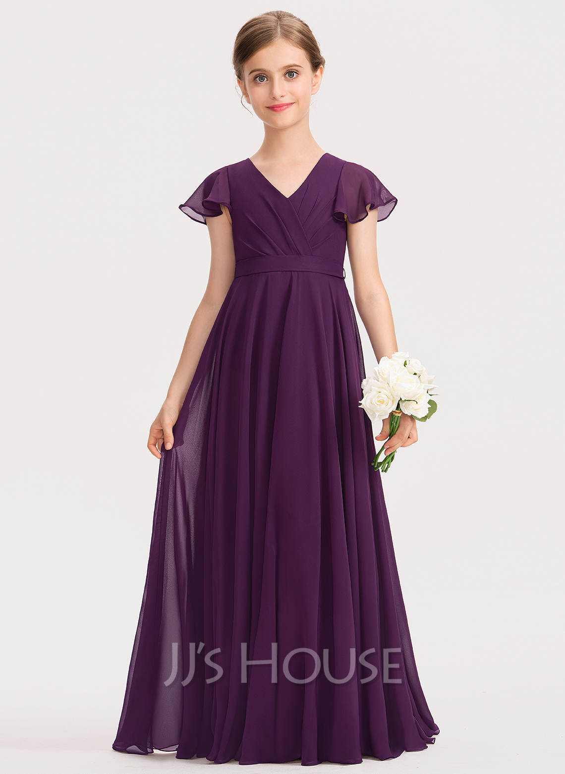 A-Line V-neck Floor-Length Chiffon Junior Bridesmaid Dress With Bow(s) Cascading Ruffles