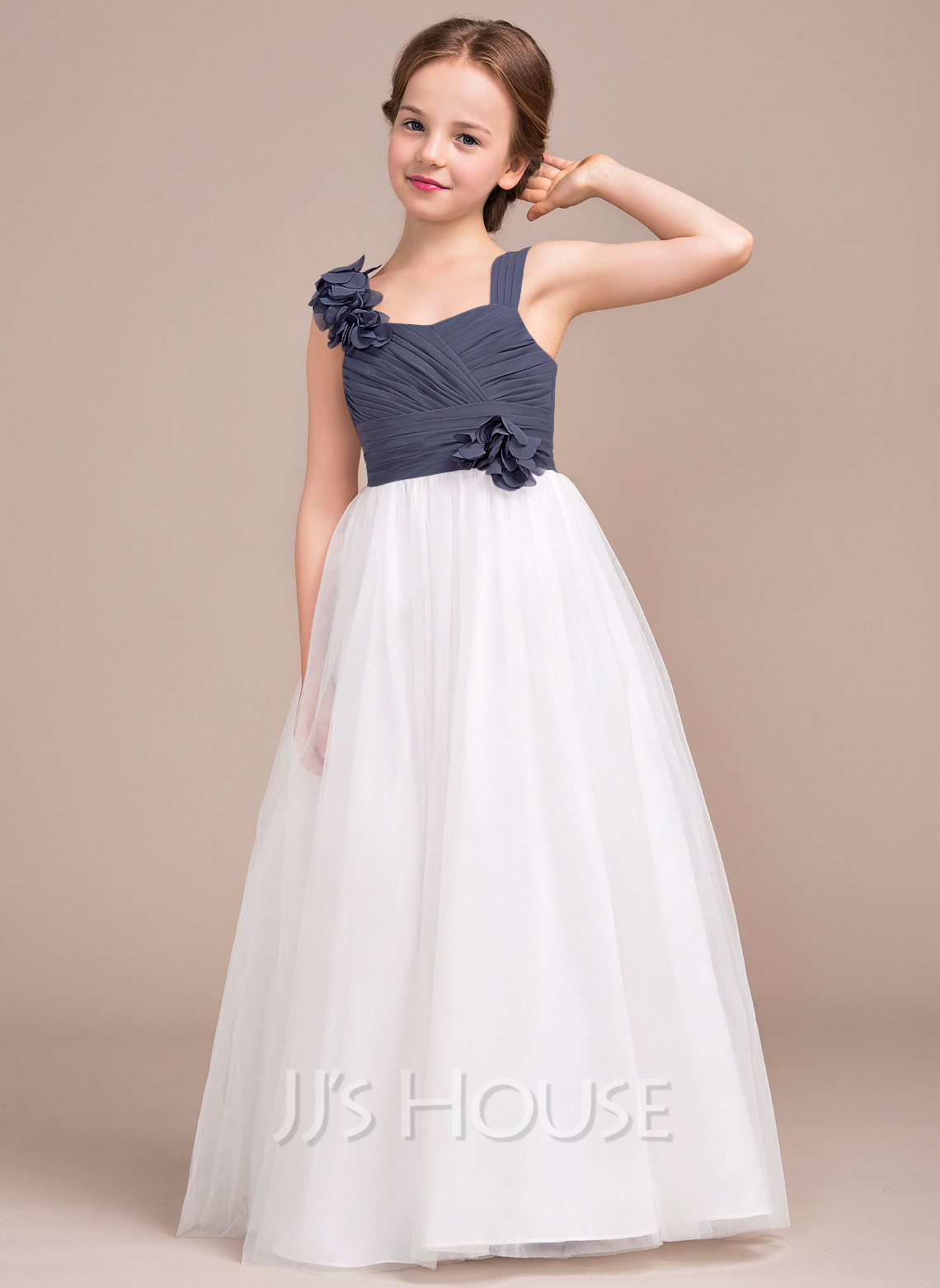 A-Line Sweetheart Floor-Length Chiffon Tulle Junior Bridesmaid Dress With Ruffle Flower(s)