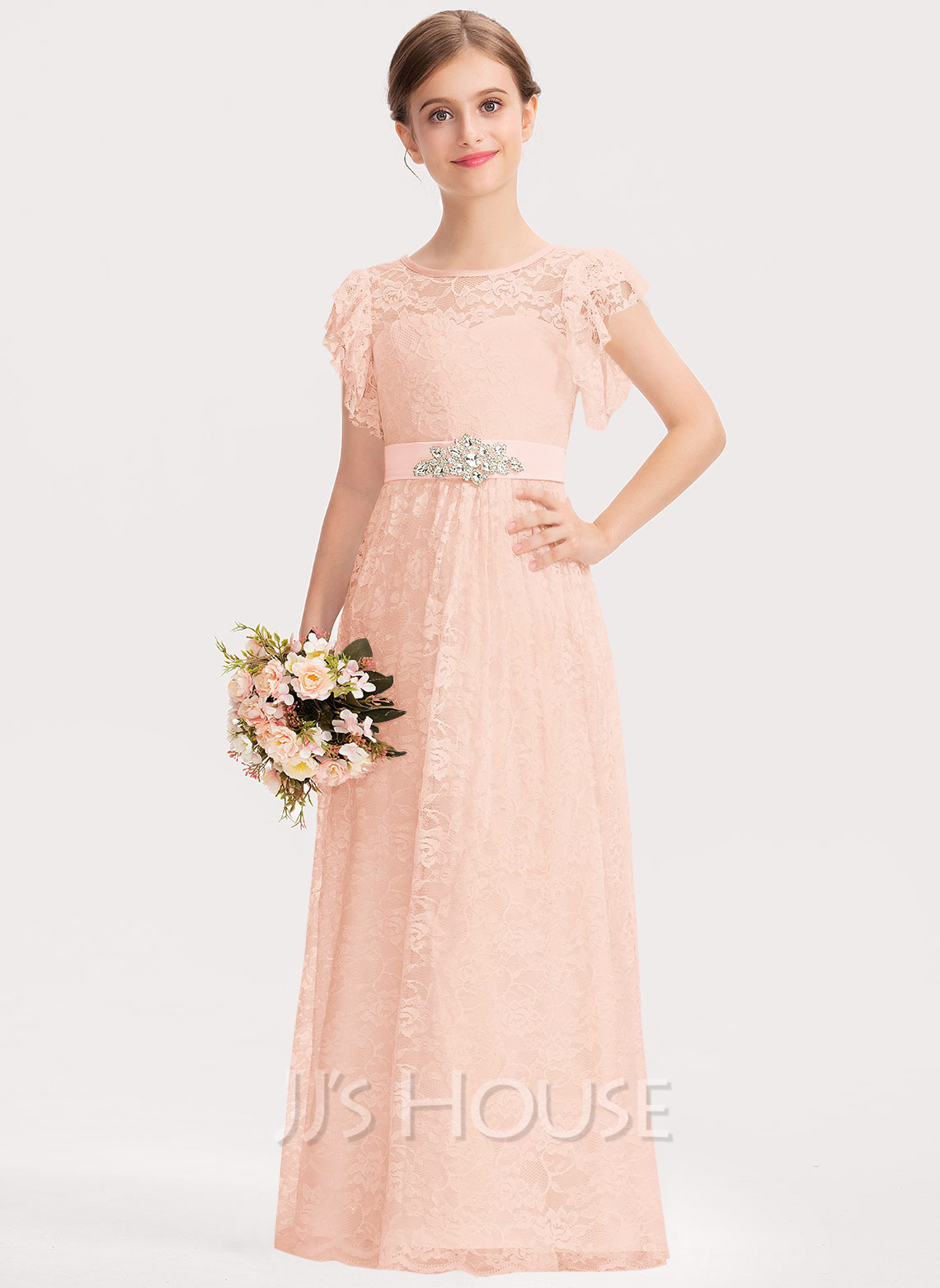 A-Line Scoop Neck Floor-Length Lace Junior Bridesmaid Dress With Beading Bow(s) Cascading Ruffles
