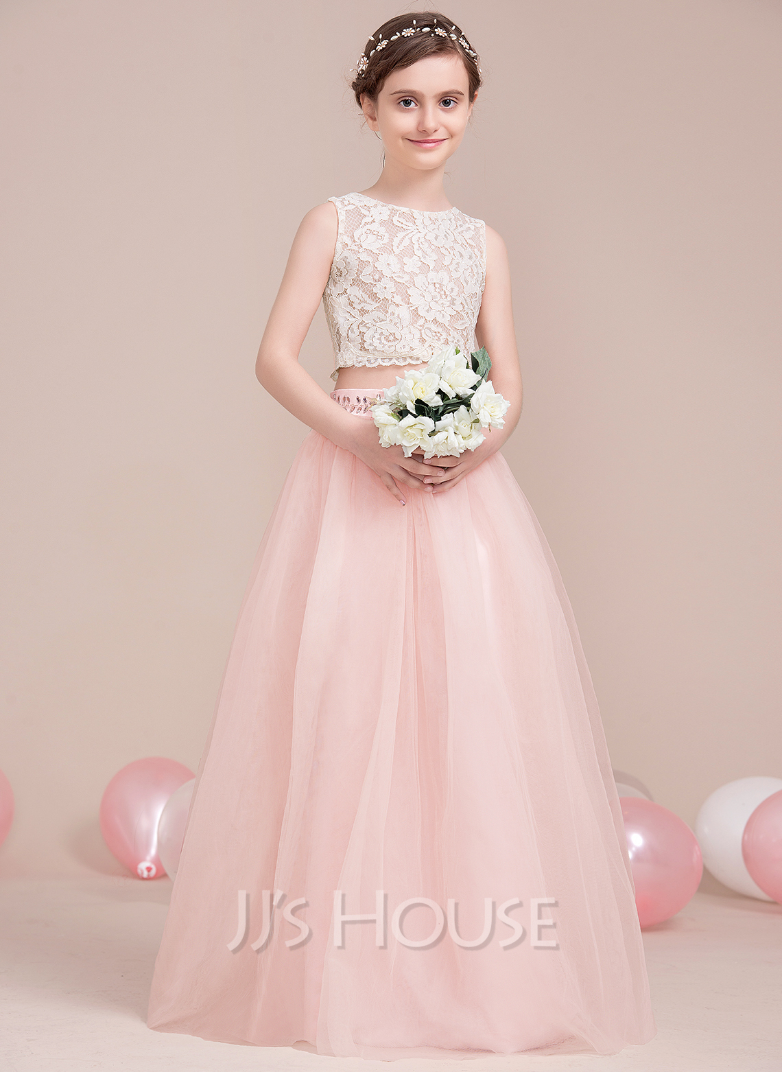 A-Line Scoop Neck Floor-Length Tulle Junior Bridesmaid Dress With Beading