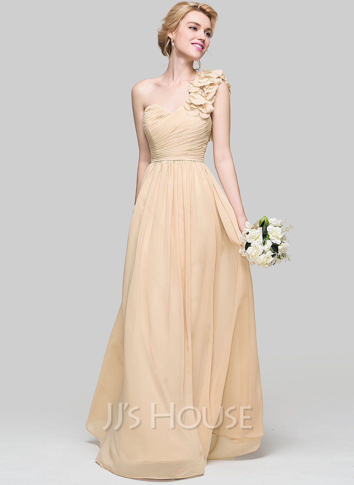 A-Line One-Shoulder Floor-Length Chiffon Prom Dresses With Ruffle Flower(s)