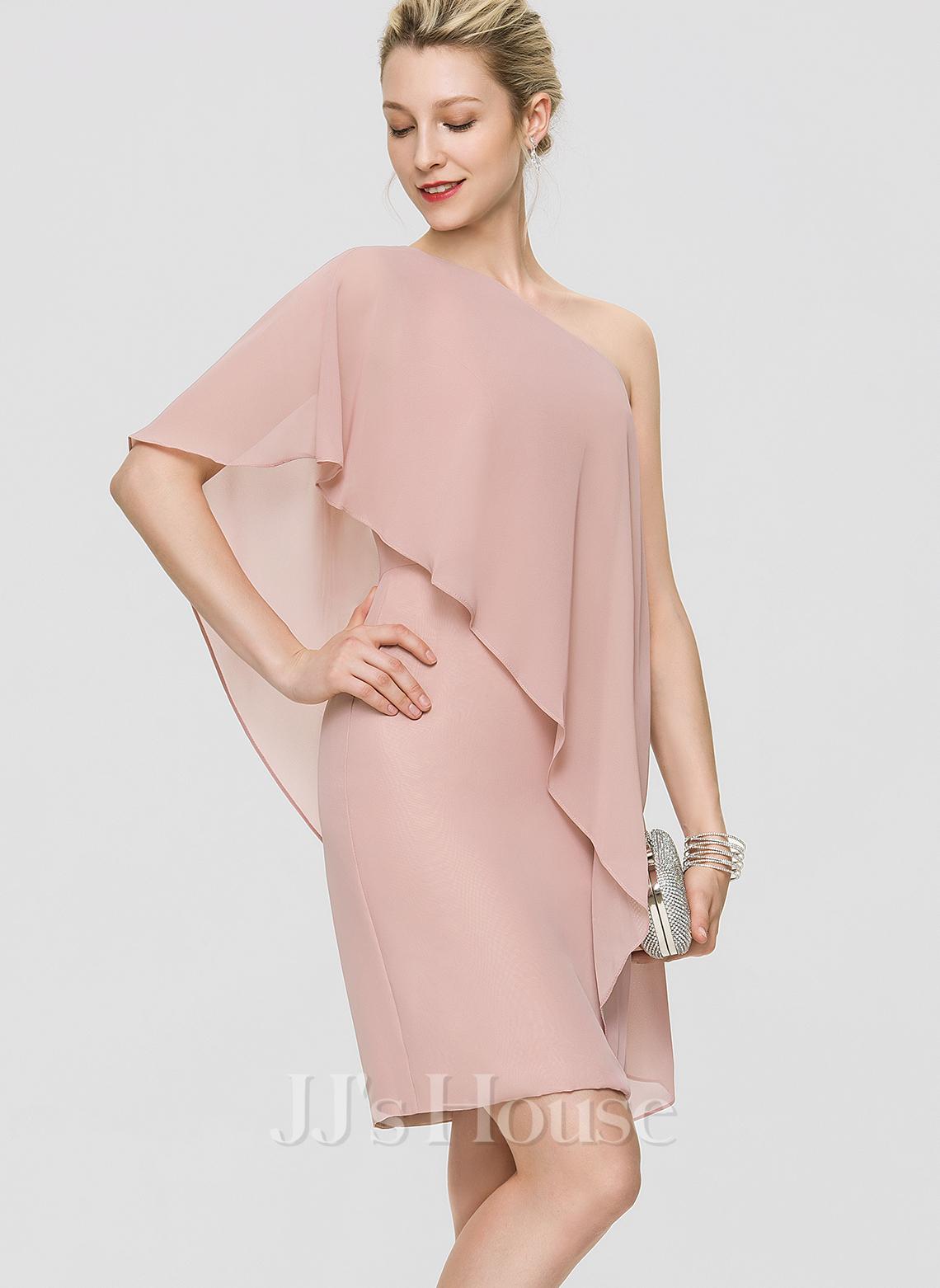 Sheath/Column One-Shoulder Knee-Length Chiffon Cocktail Dress With Cascading Ruffles