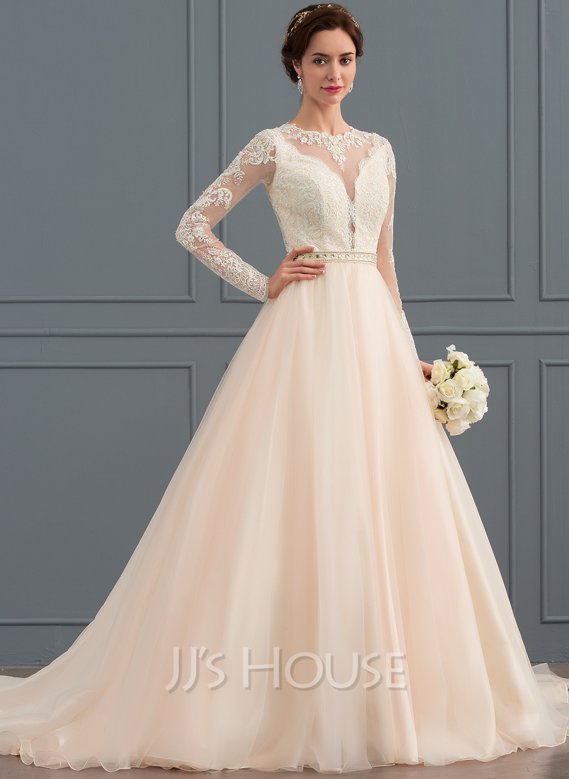 Ball-Gown/Princess Scoop Neck Chapel Train Tulle Wedding Dress With Beading