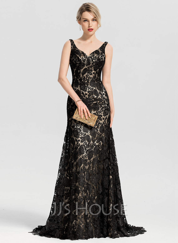 Trumpet/Mermaid V-neck Sweep Train Lace Evening Dress