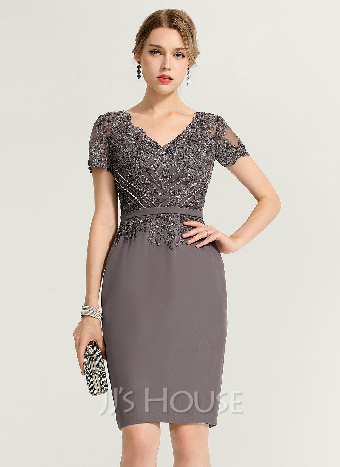 Sheath/Column V-neck Knee-Length Chiffon Cocktail Dress With Beading Sequins