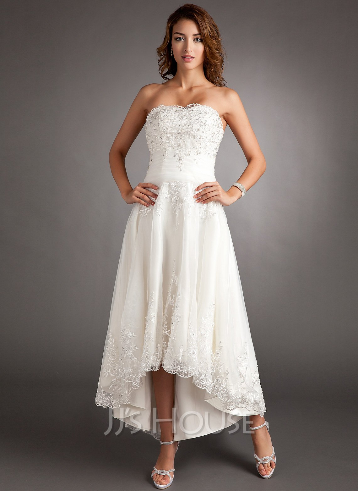 A-Line Sweetheart Asymmetrical Tulle Wedding Dress With Lace Beading
