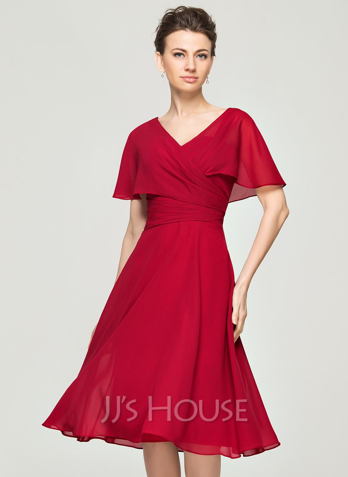 A-Line V-neck Knee-Length Chiffon Cocktail Dress With Ruffle