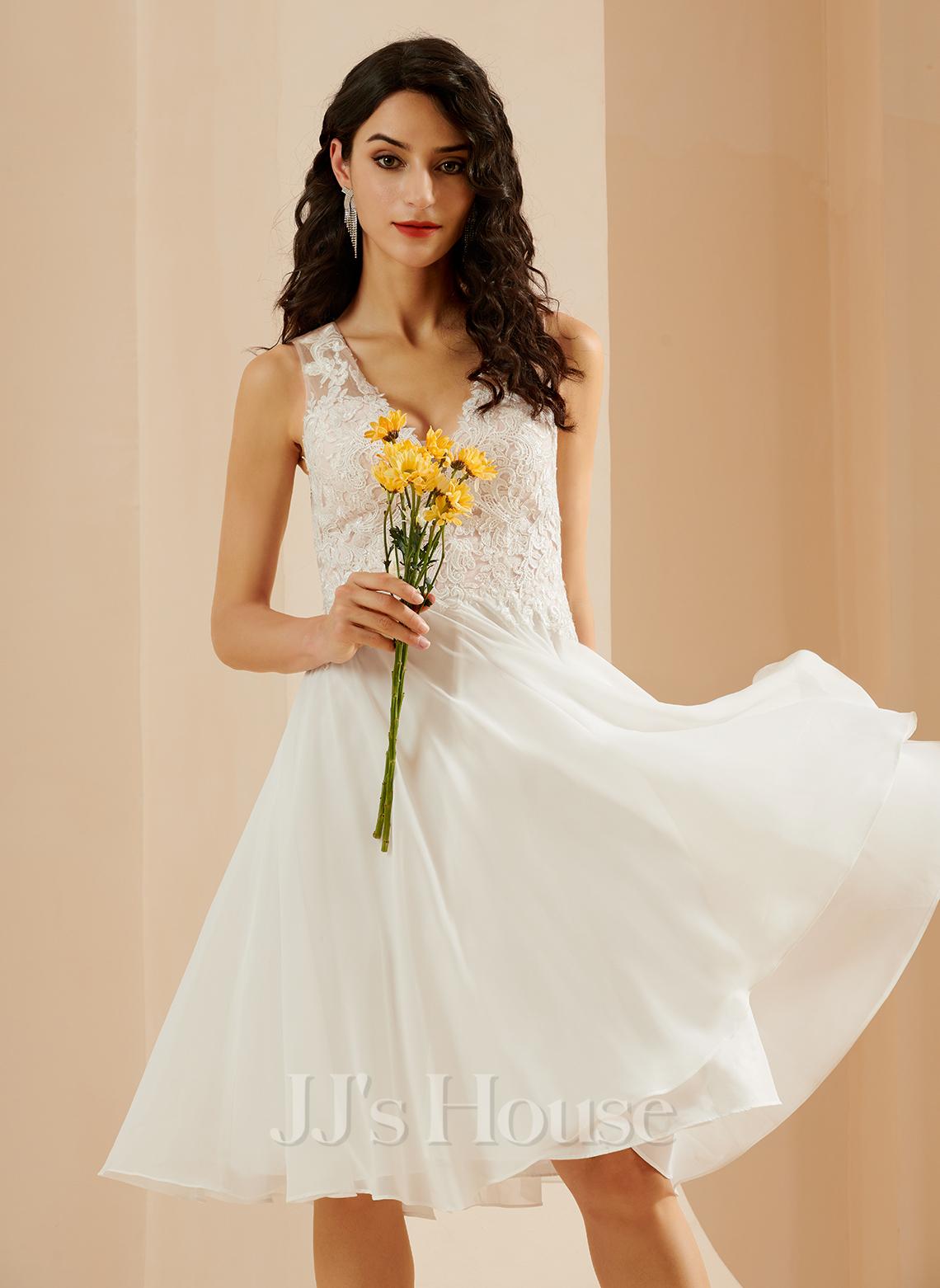 A-Formet V-hals Knelengde Brudekjole med Blonder paljetter