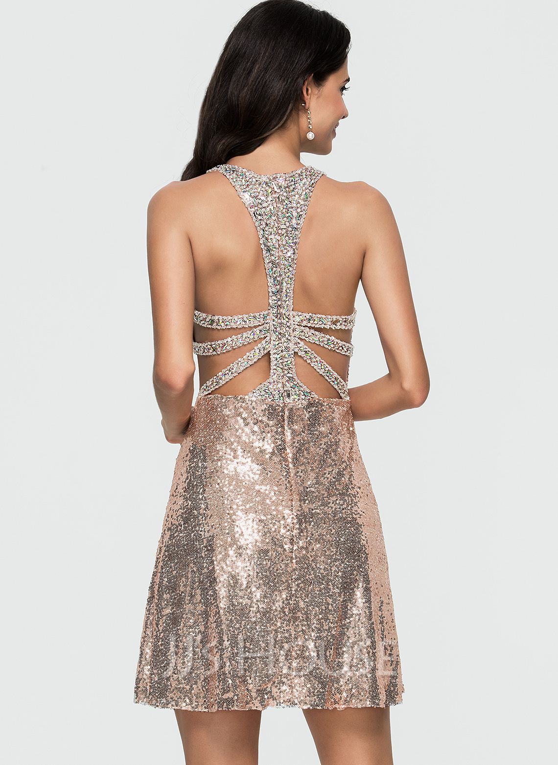 A-Line Scoop Neck Short/Mini Sequined Homecoming Dress With Beading