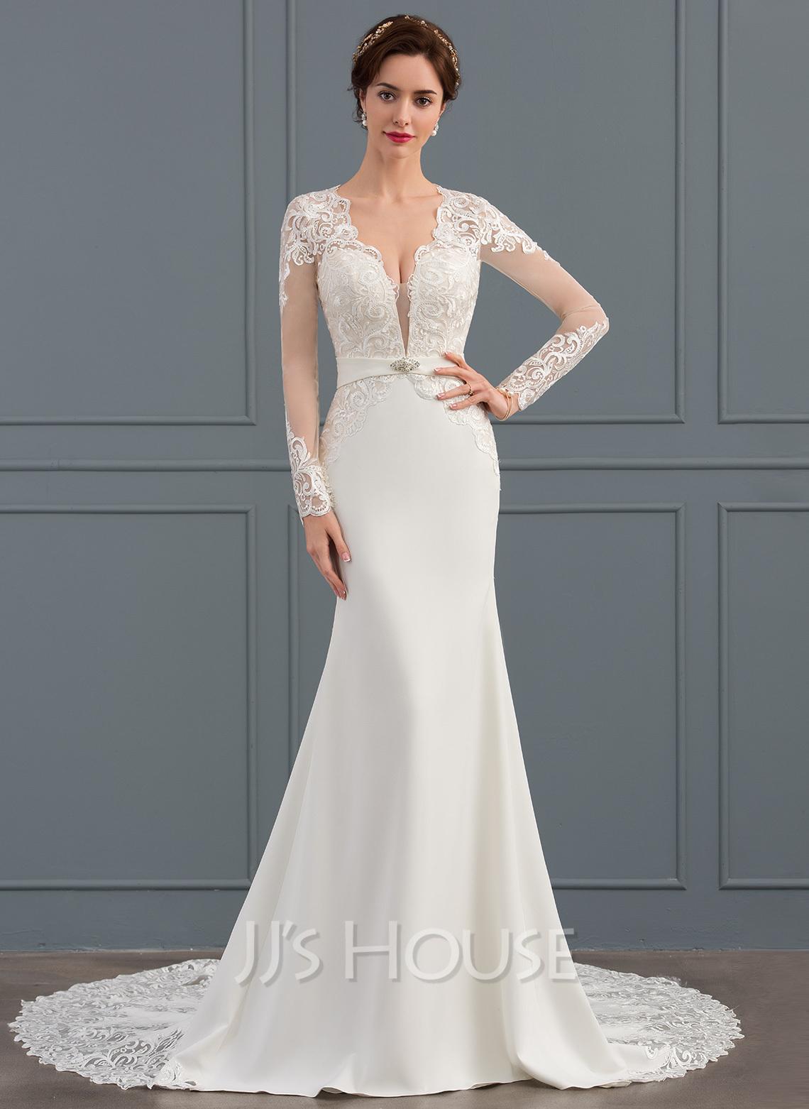 Trumpet/Mermaid V-neck Chapel Train Stretch Crepe Wedding Dress With Beading