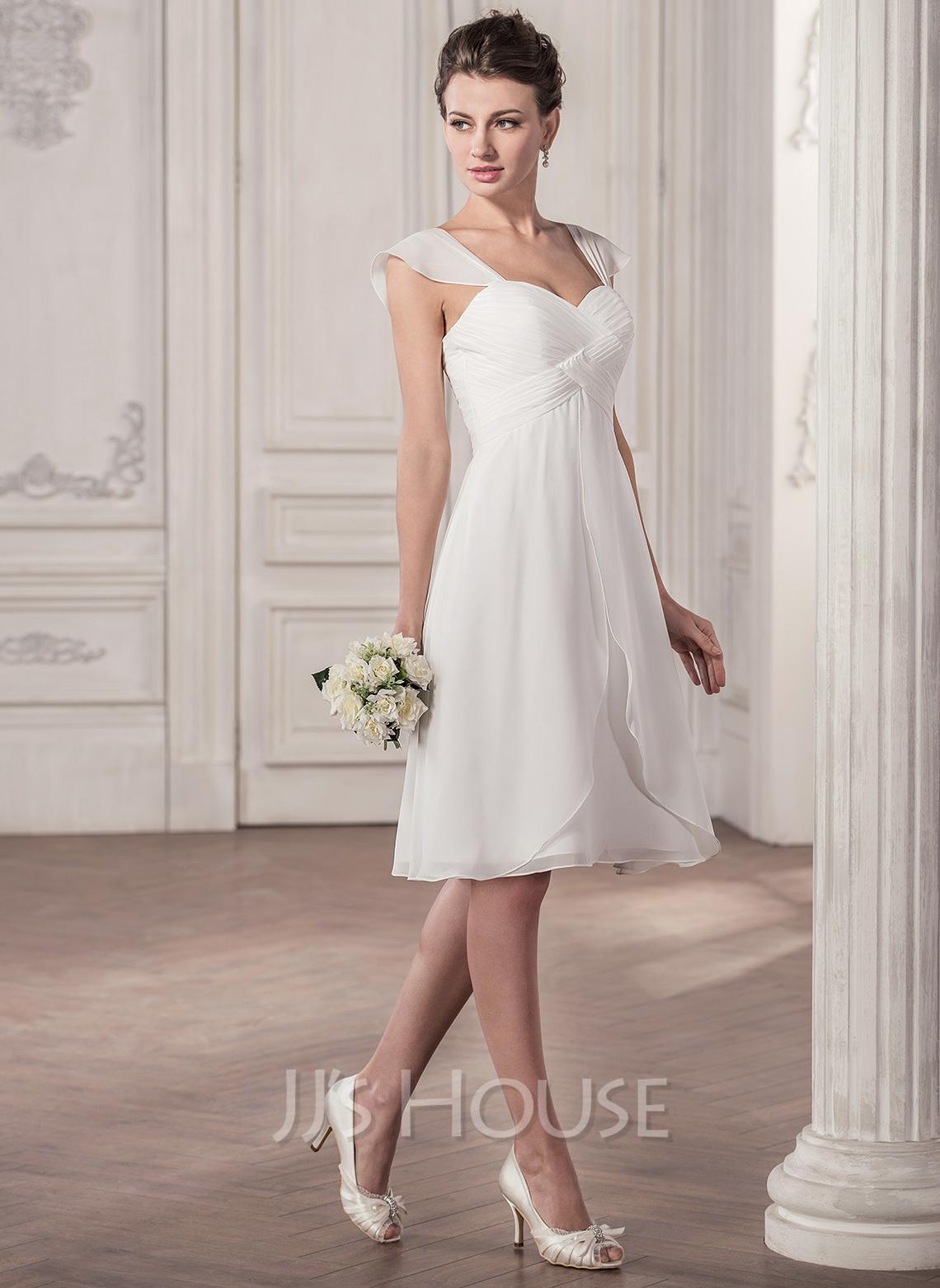 A-Line/Princess Sweetheart Knee-Length Chiffon Wedding Dress With Ruffle