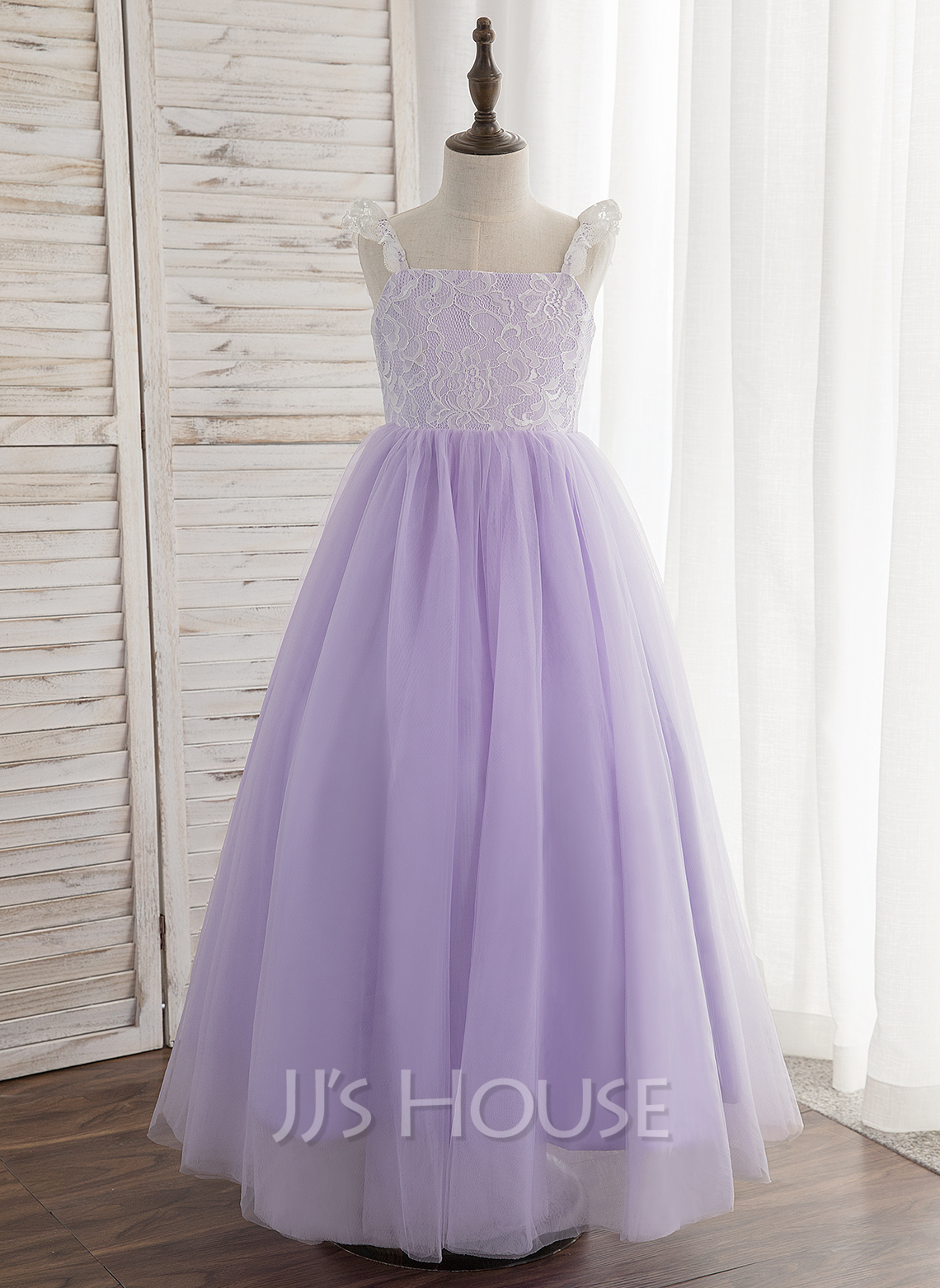 A-Line/Princess Ankle-length Flower Girl Dress - Tulle/Lace Sleeveless Straps