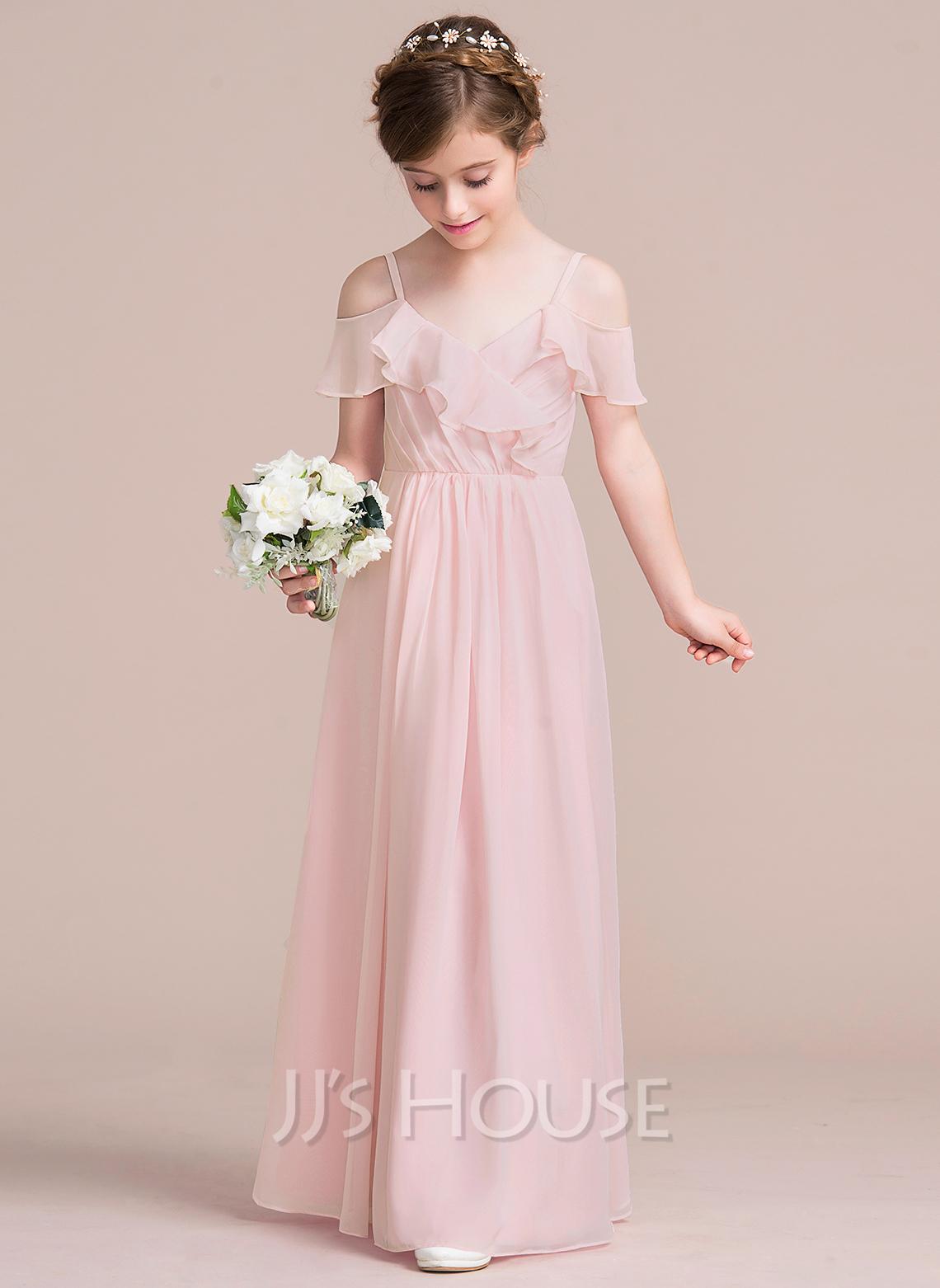 A-Line V-neck Floor-Length Chiffon Junior Bridesmaid Dress With Cascading Ruffles