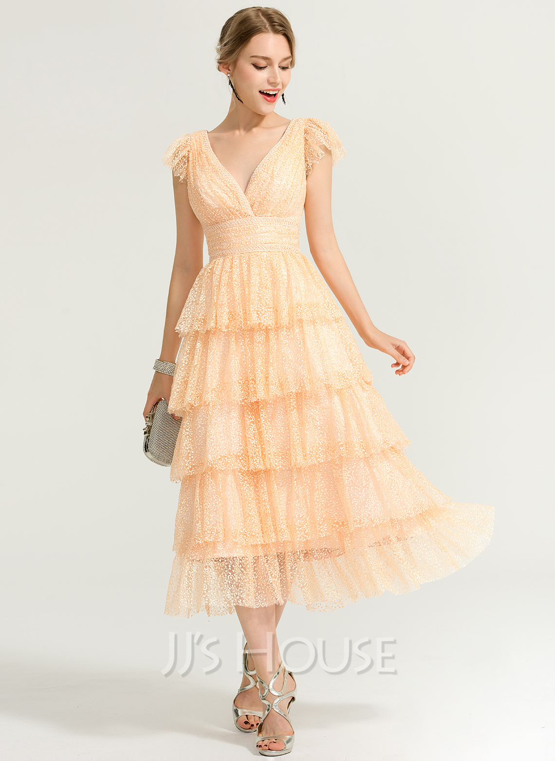 A-Line V-neck Tea-Length Lace Cocktail Dress