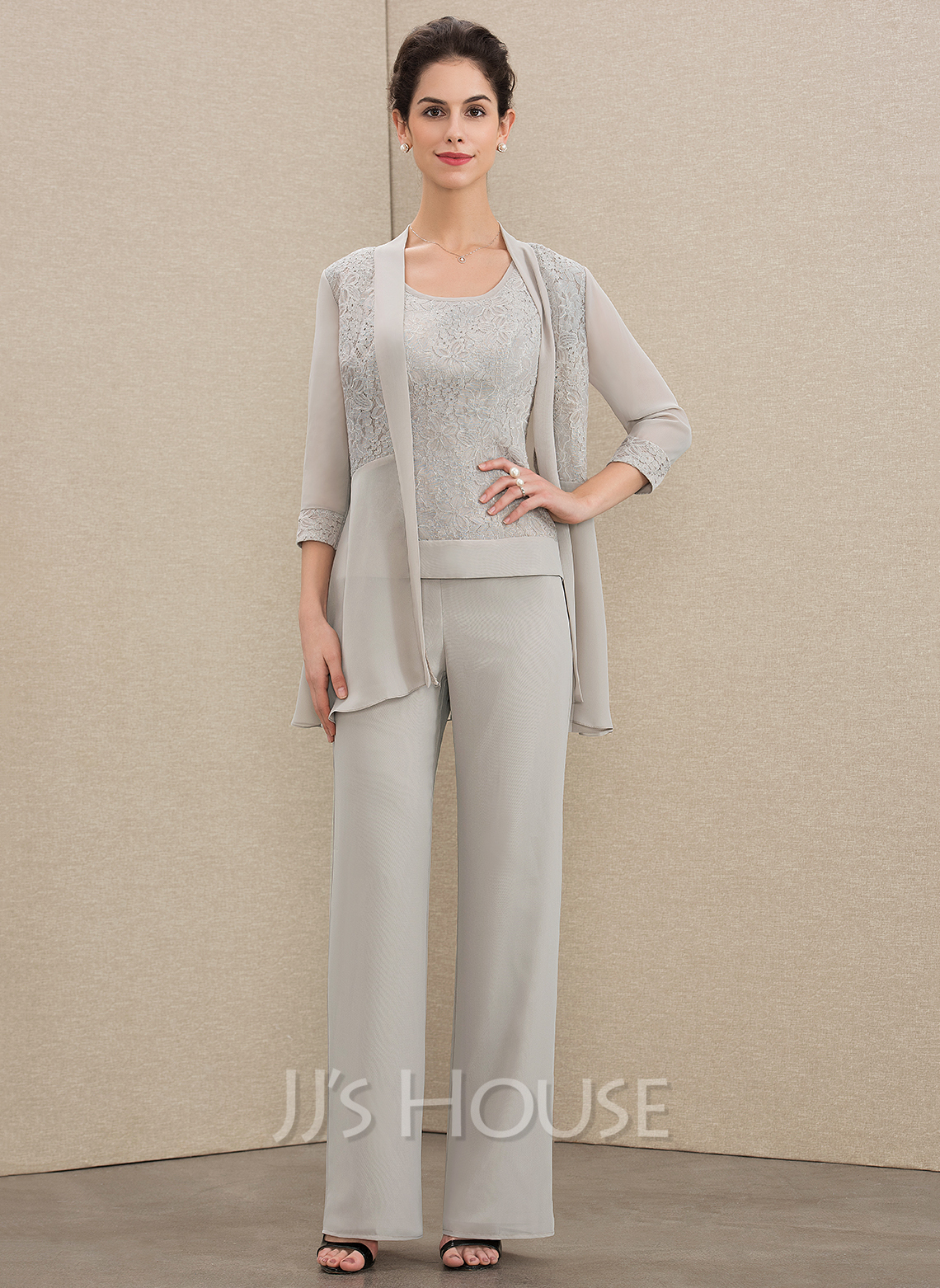 Jumpsuit/Pantsuit Scoop Neck Floor-Length Chiffon Lace Mother of the Bride Dress