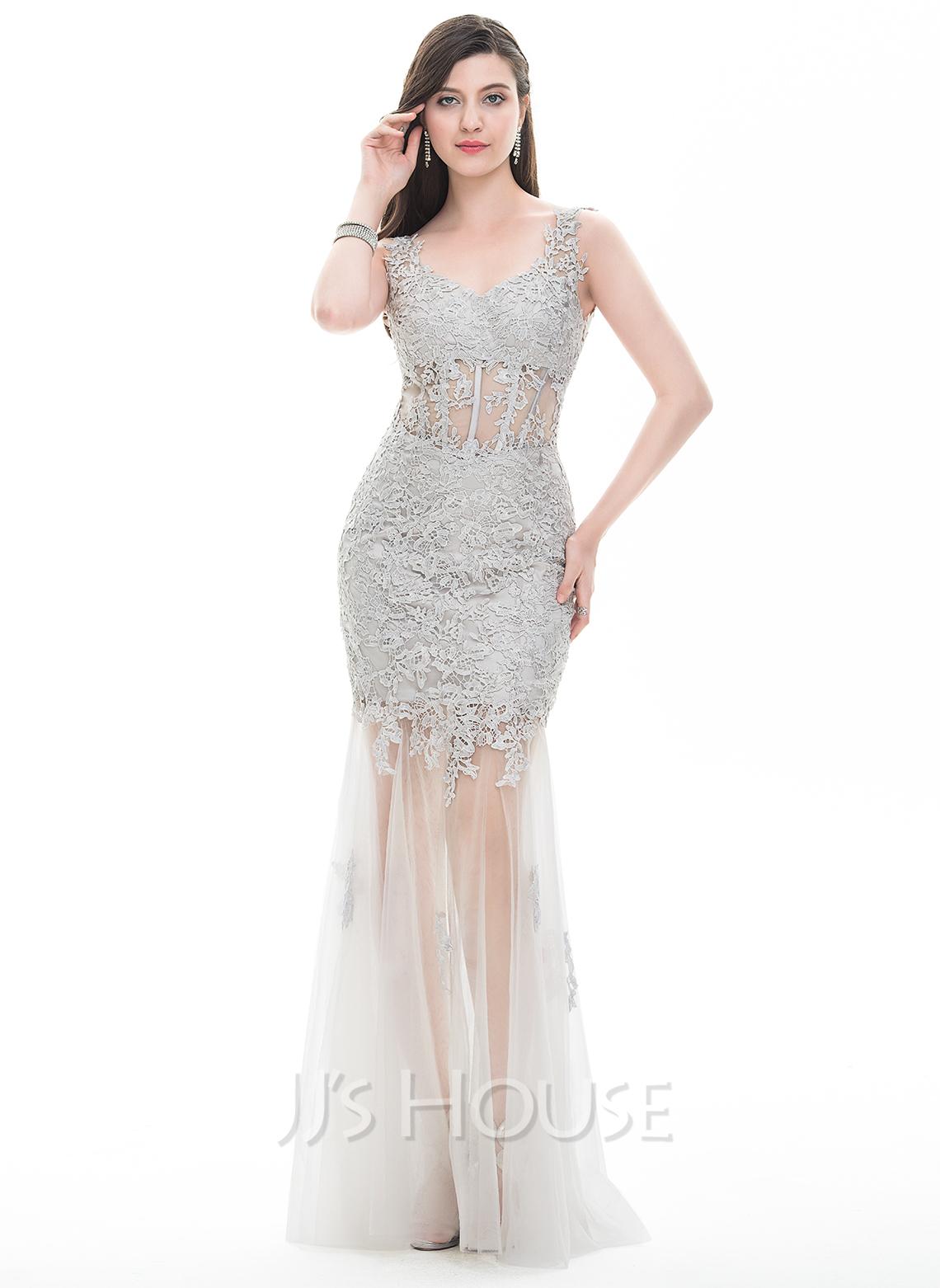 Sheath/Column V-neck Floor-Length Tulle Prom Dresses