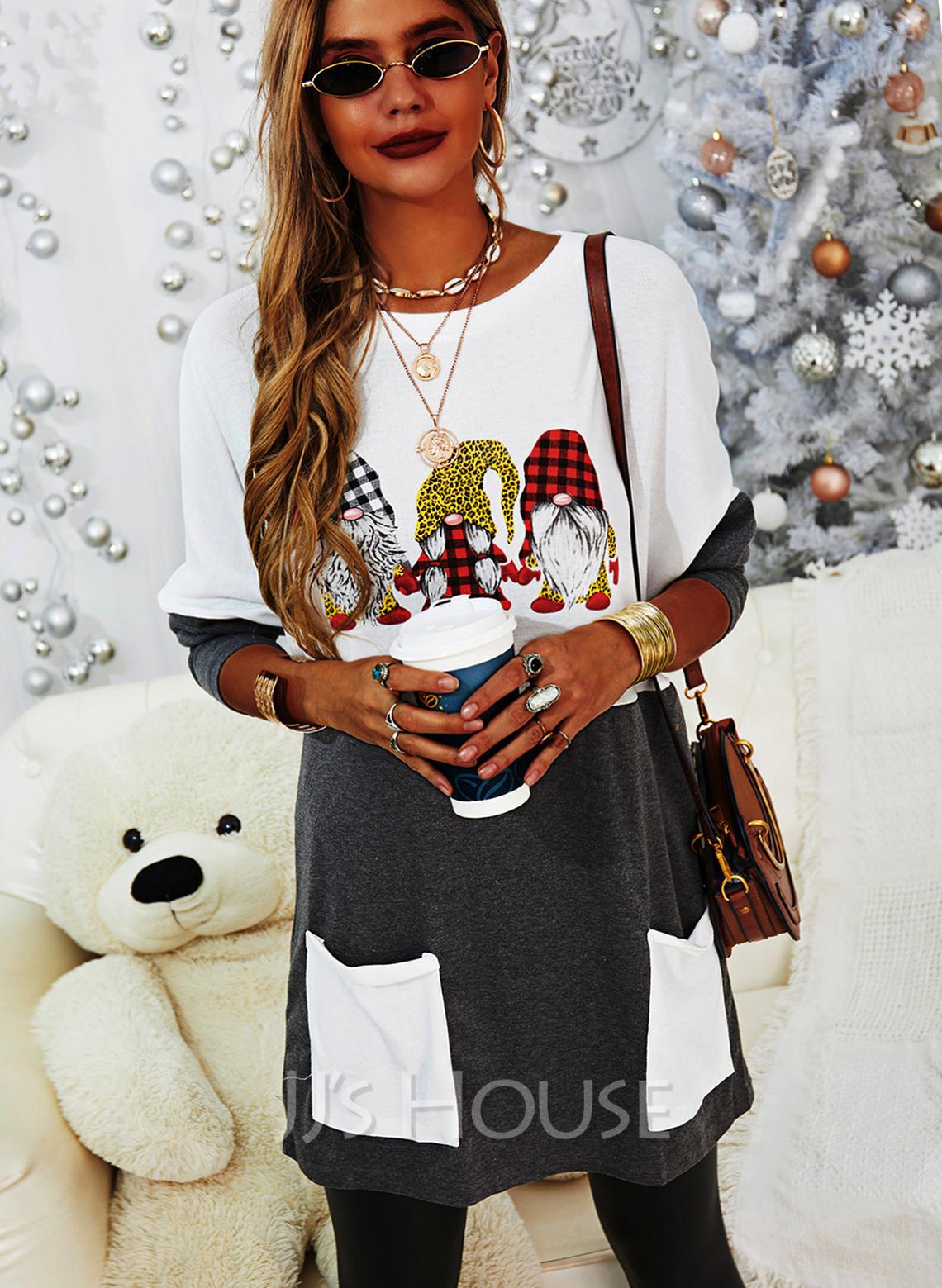 Rund hals Lange ermer Regelmessig Christmas Rutete Trykk Leopard lommer Jerseykjorte