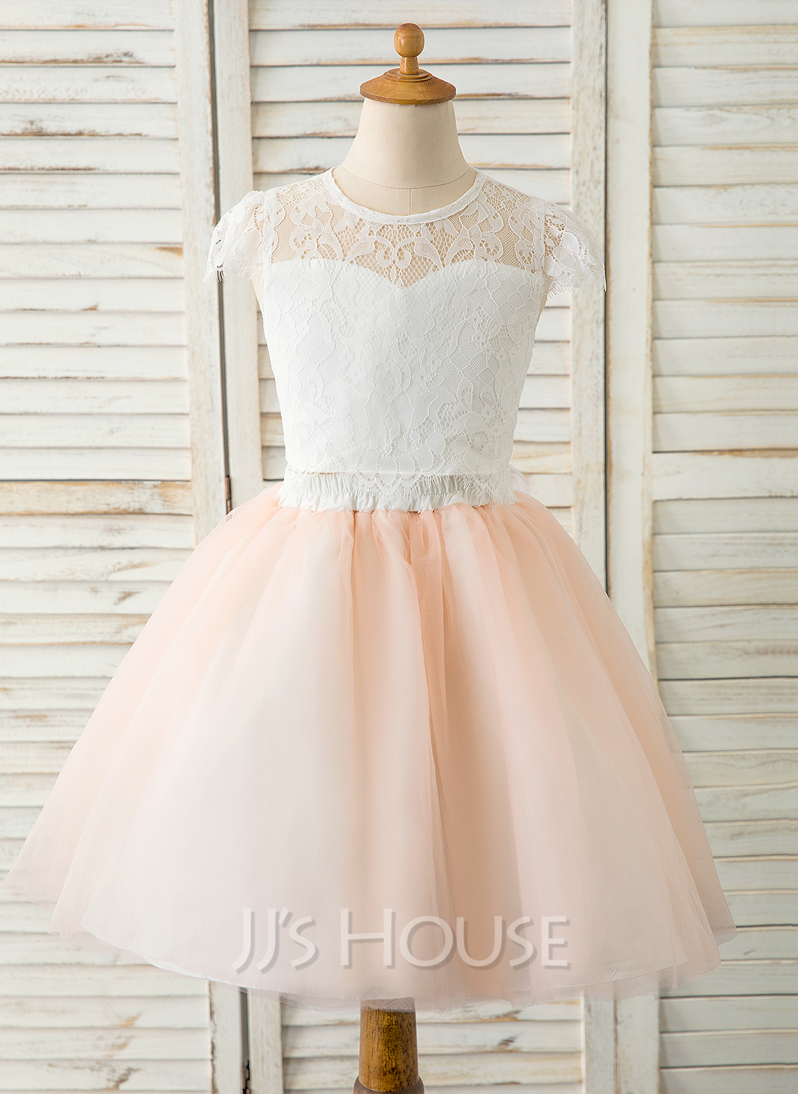 A-Line Knee-length Flower Girl Dress - Tulle/Lace Sleeveless Scoop Neck