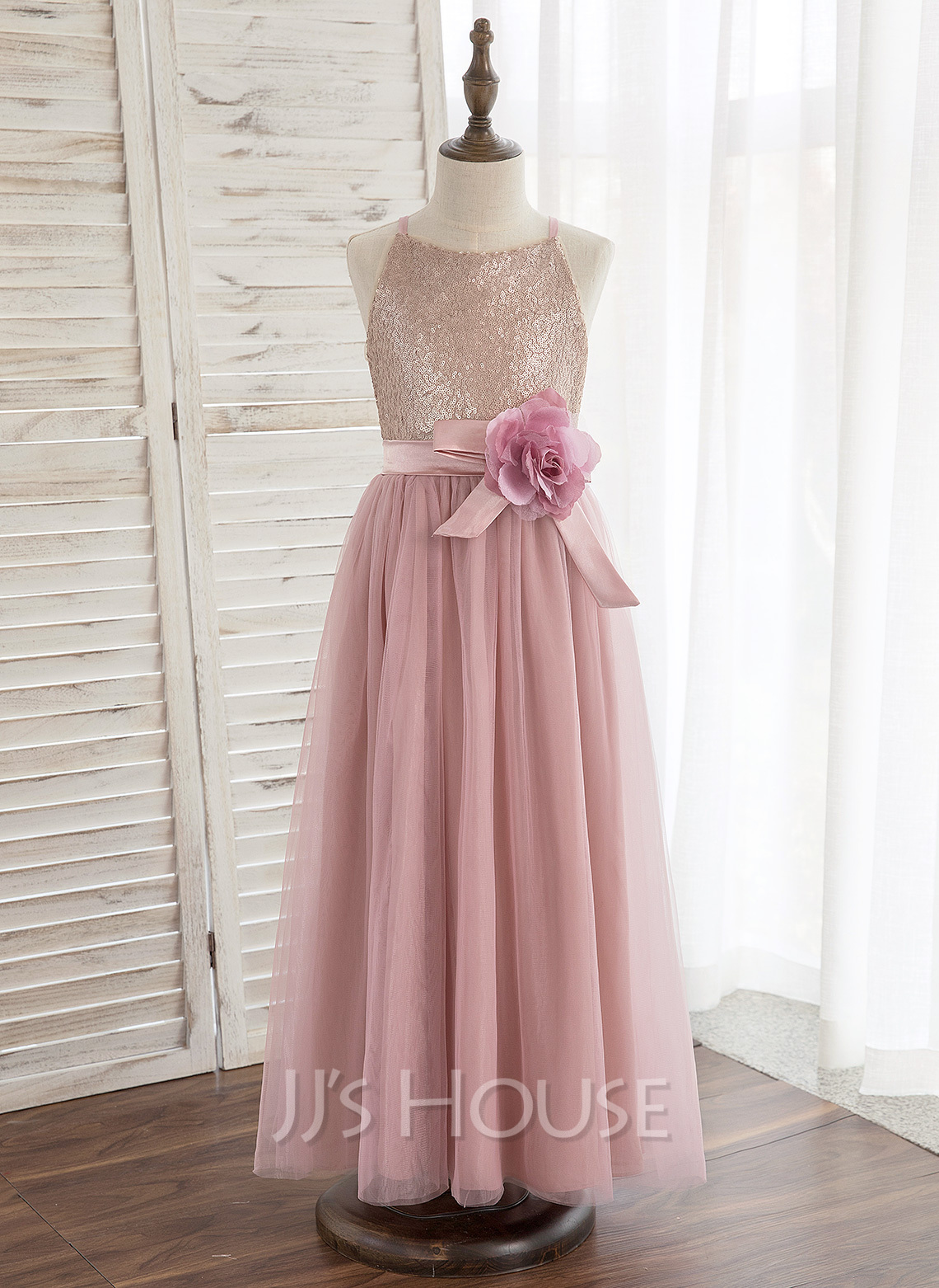 A-Line Ankle-length Flower Girl Dress - Tulle/Sequined Sleeveless Halter With Flower(s)
