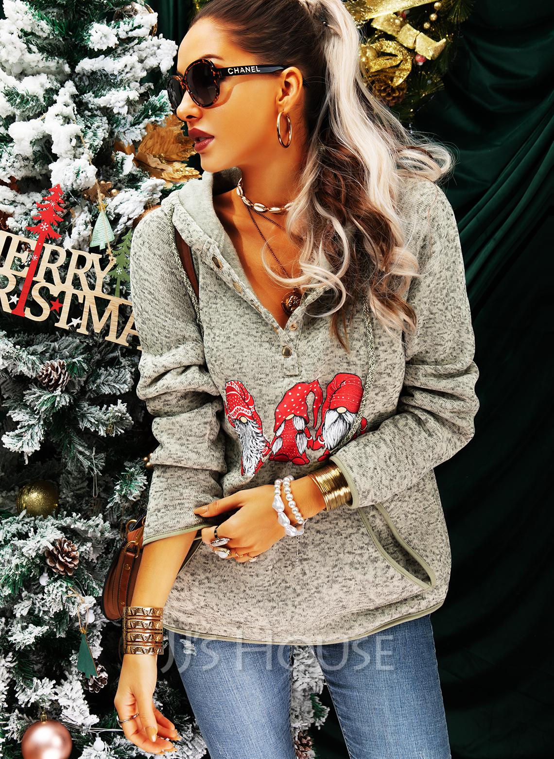 Lange ermer Regelmessig Christmas Trykk lommer Jerseykjorte