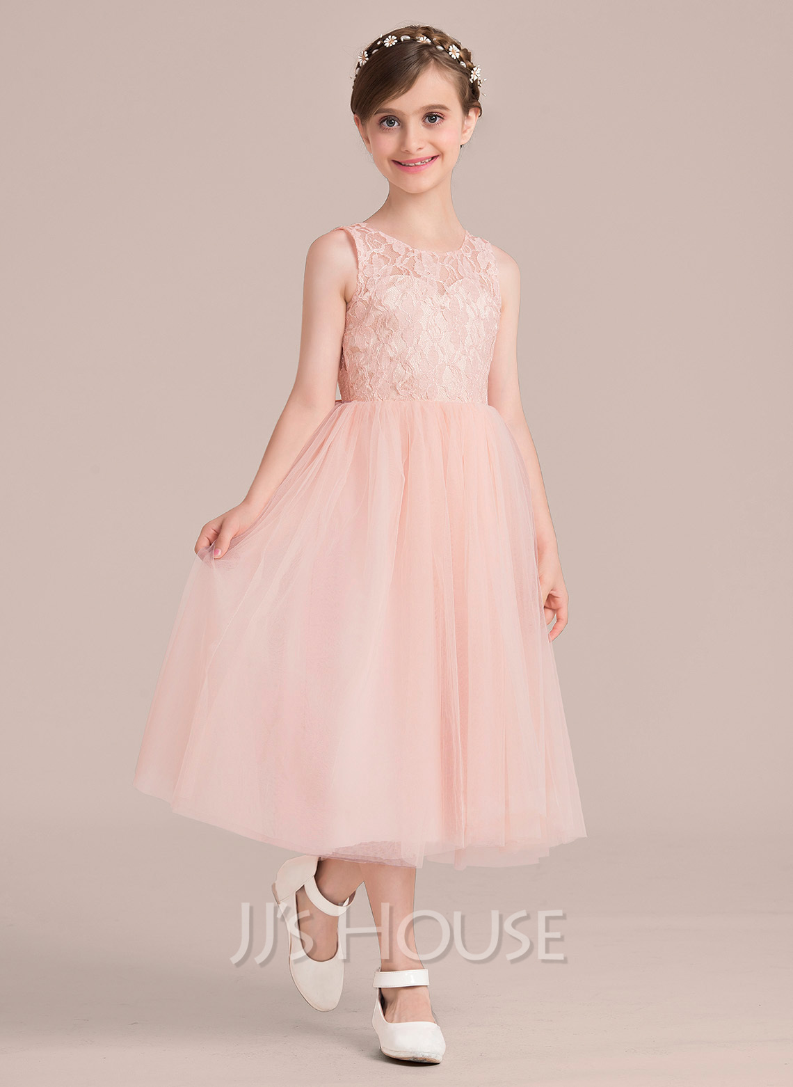 A-Line Scoop Neck Tea-Length Tulle Junior Bridesmaid Dress With Beading Bow(s)