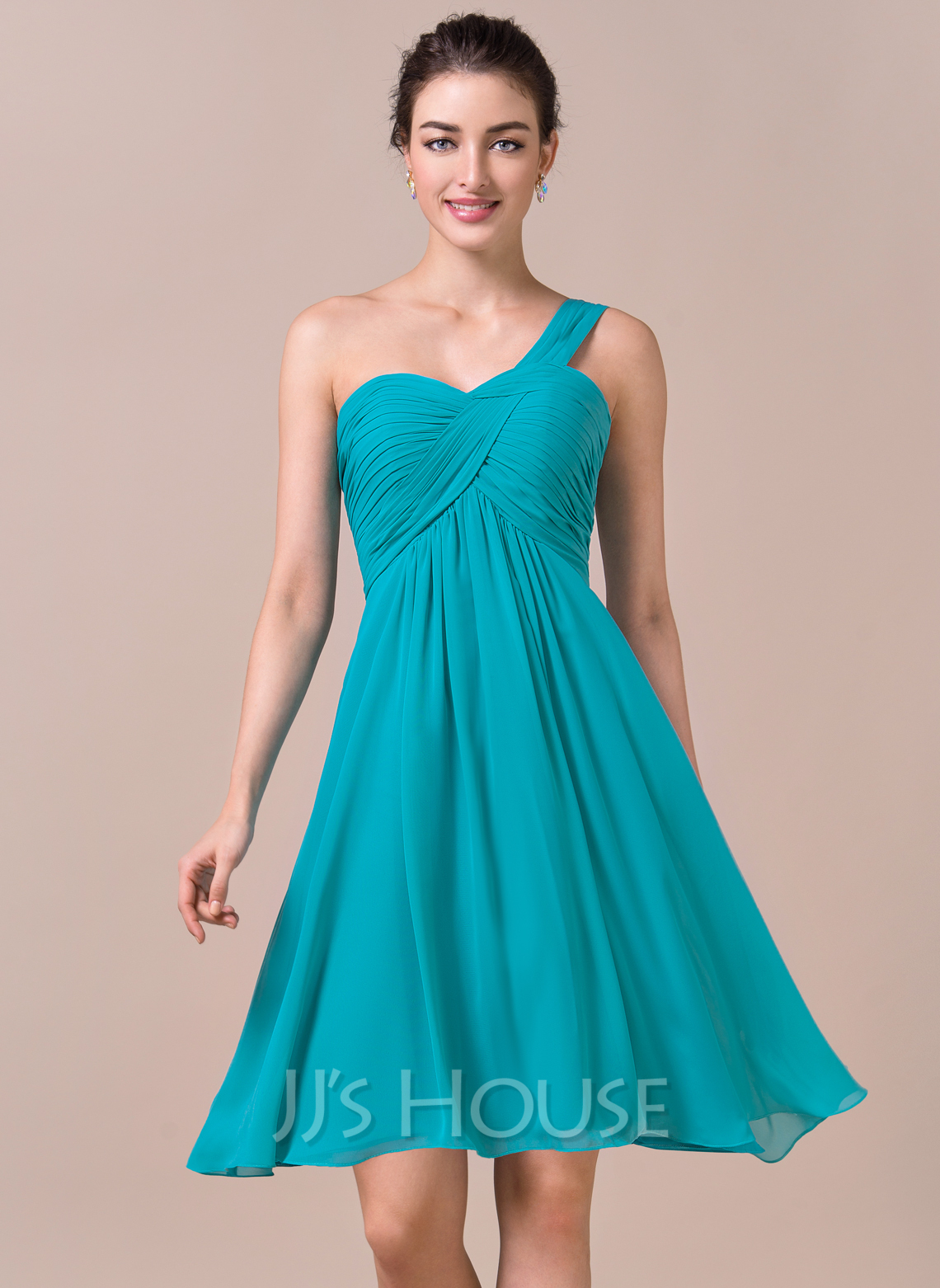 Empire One-Shoulder Knee-Length Chiffon Bridesmaid Dress With Ruffle