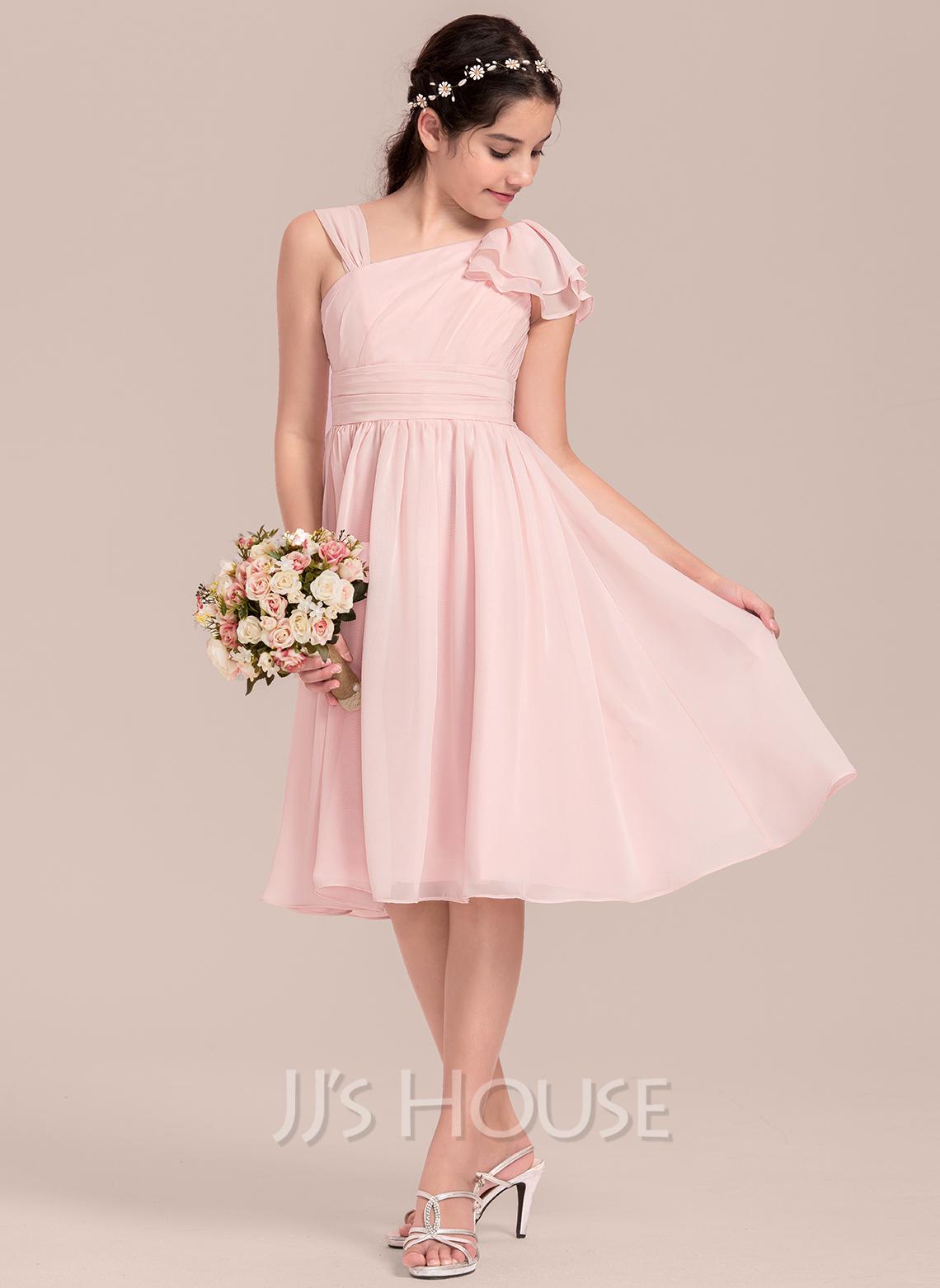 A-Line V-neck Knee-Length Chiffon Junior Bridesmaid Dress With Cascading Ruffles
