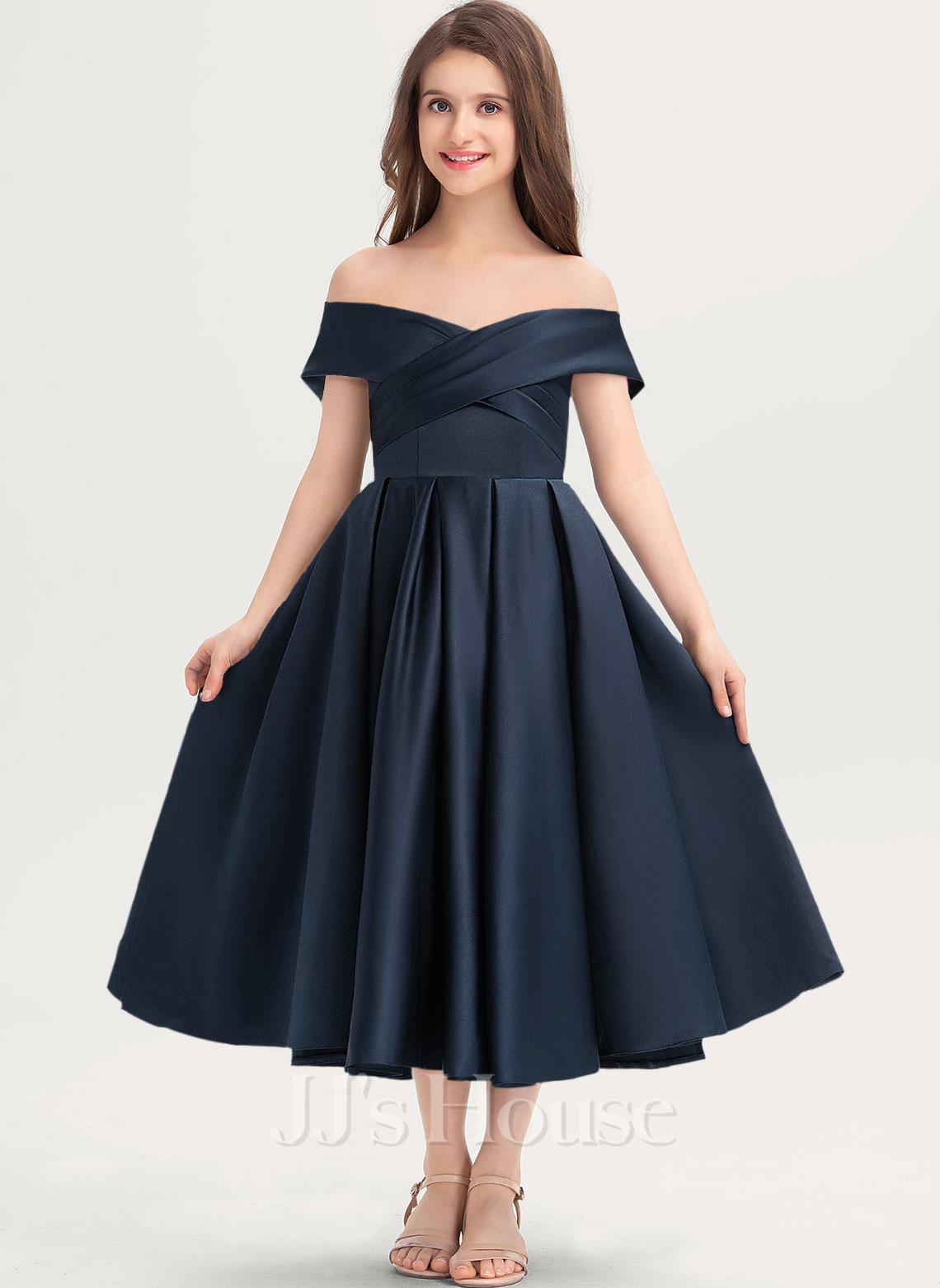 A-Line Off-the-Shoulder Tea-Length Satin Junior Bridesmaid Dress With Ruffle Pockets
