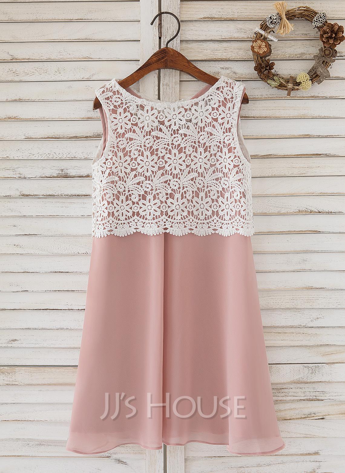 A-Line Knee-length Flower Girl Dress - Chiffon/Lace Sleeveless Scoop Neck