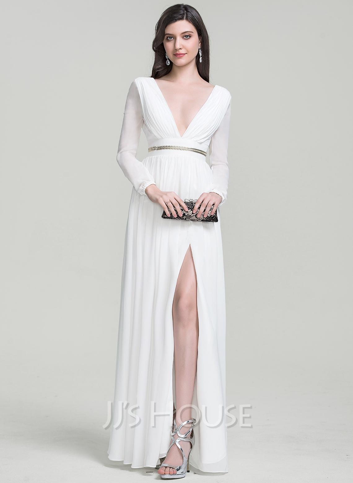 A-Line/Princess V-neck Floor-Length Chiffon Evening Dress With Beading Split Front