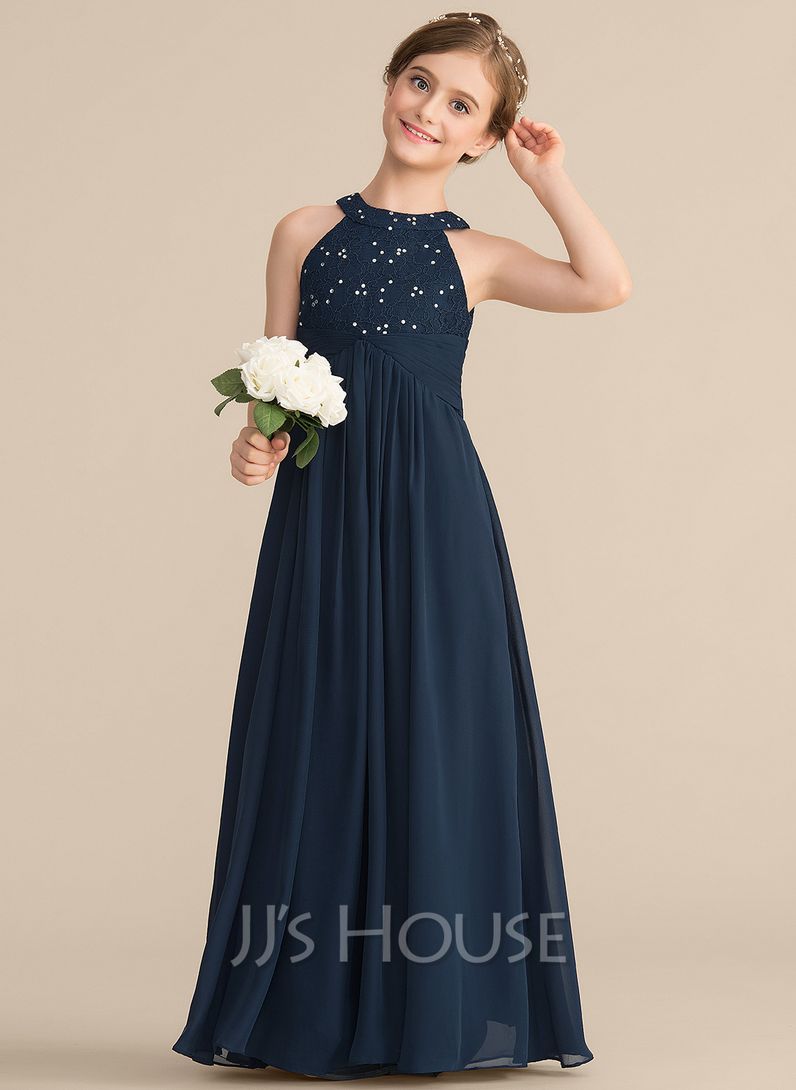 A-Line Scoop Neck Floor-Length Chiffon Lace Junior Bridesmaid Dress With Ruffle Beading