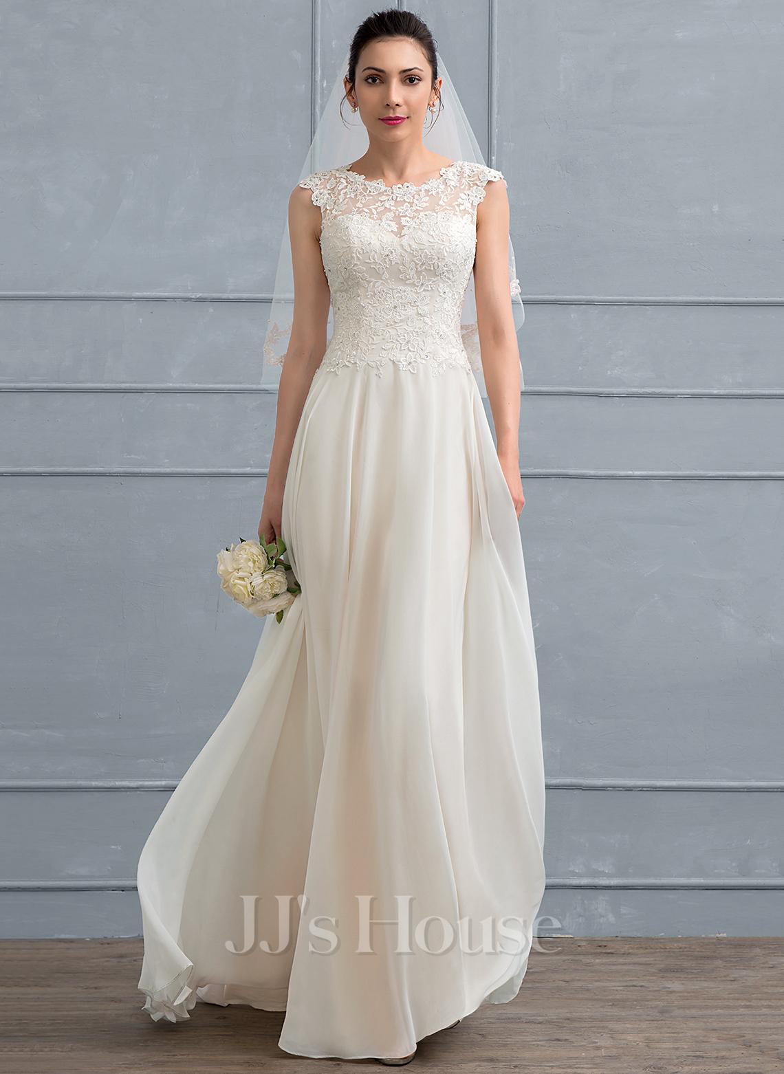 A-Line Floor-Length Chiffon Wedding Dress With Beading Sequins