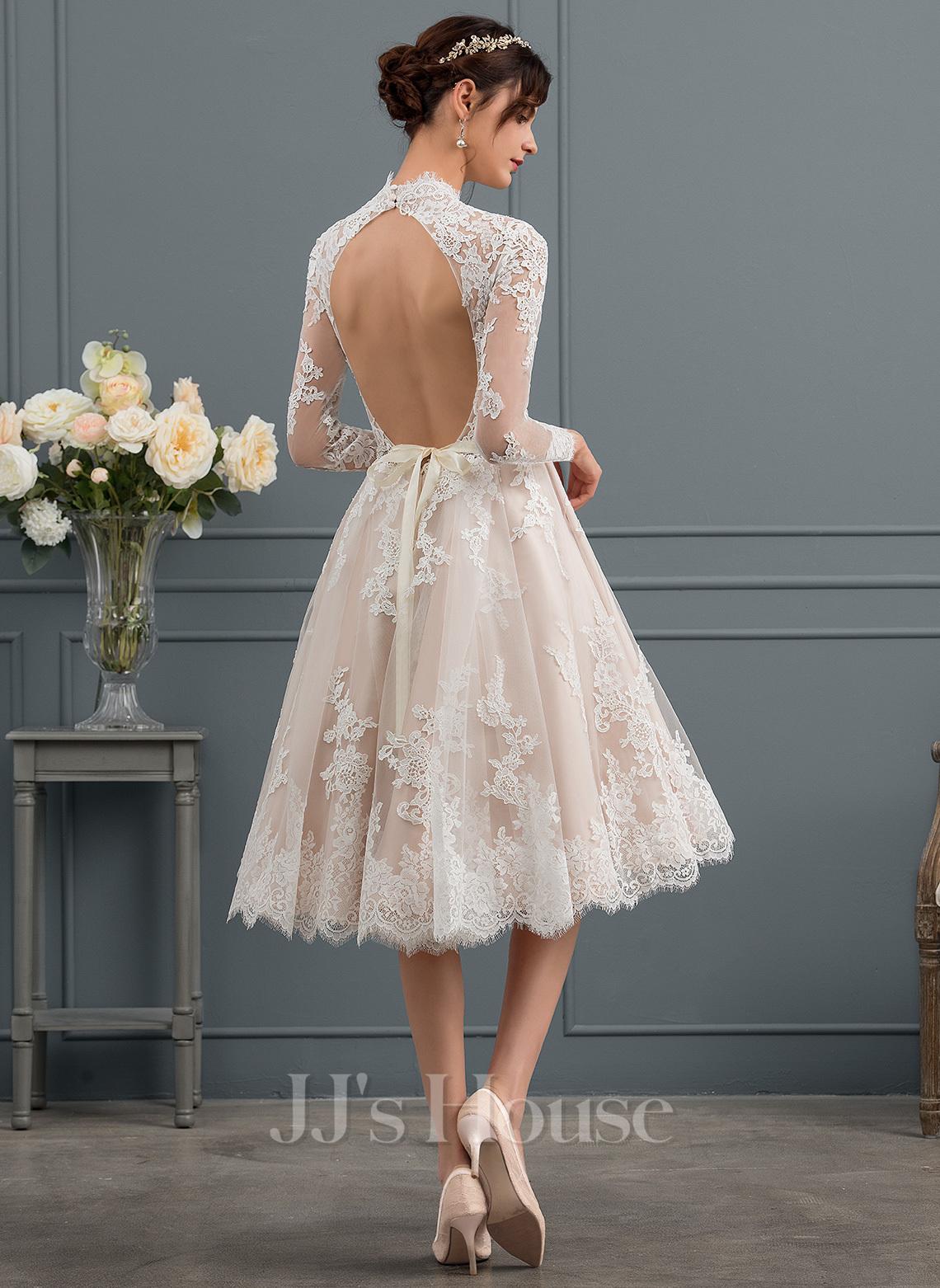 A-Line Illusion Knee-Length Lace Wedding Dress