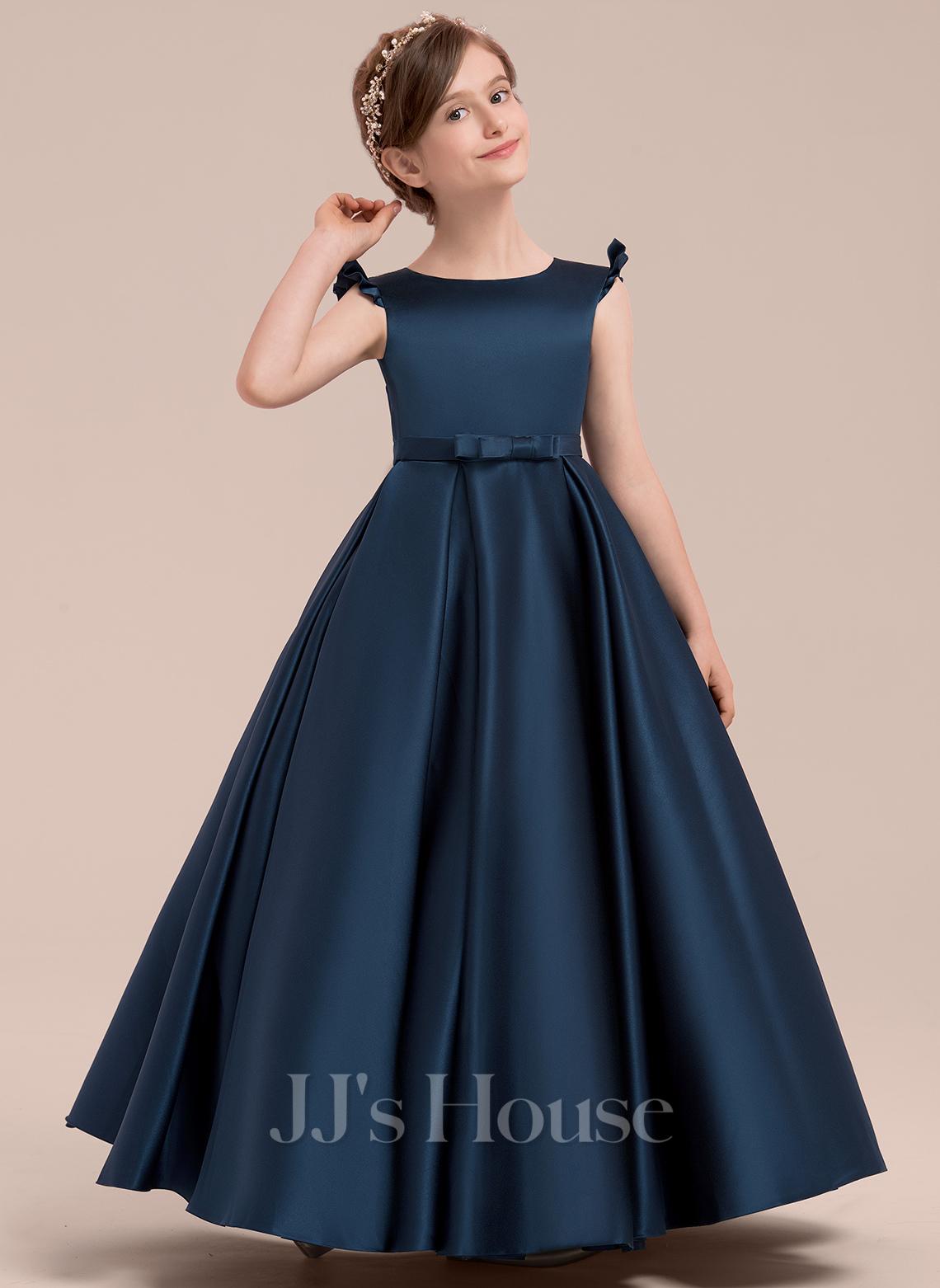 Ball Gown Floor-length Flower Girl Dress - Satin Sleeveless Scoop Neck With Bow(s)