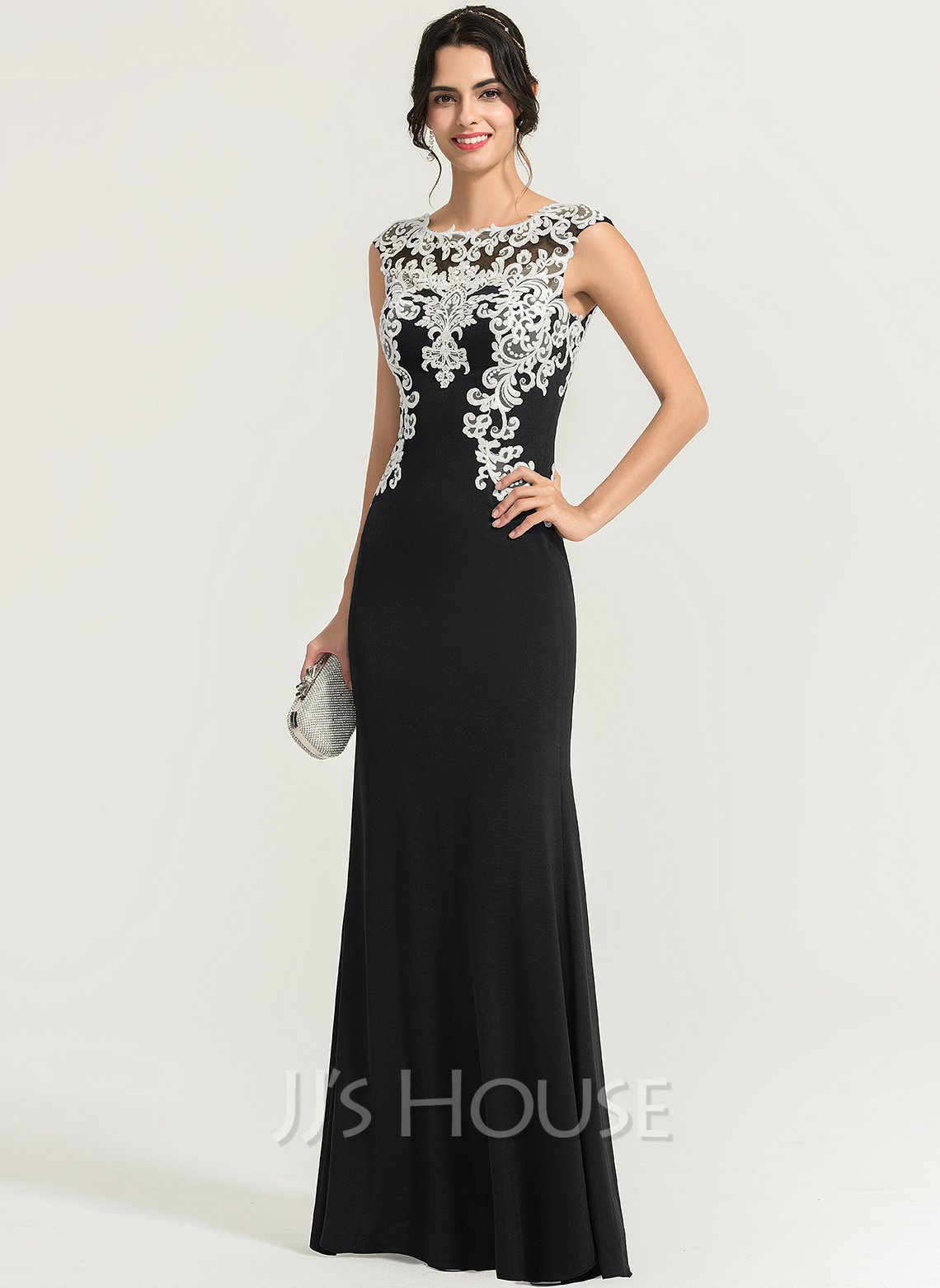 Sheath/Column Scoop Neck Floor-Length Jersey Evening Dress