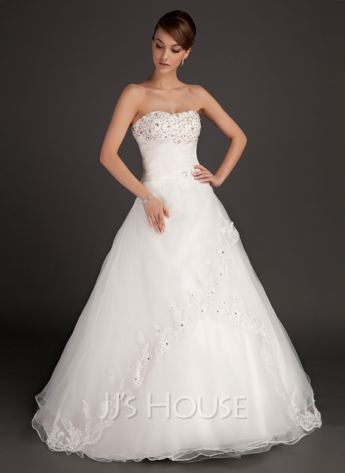 Ball-Gown Sweetheart Floor-Length Satin Organza Wedding Dress With Ruffle Lace Beading