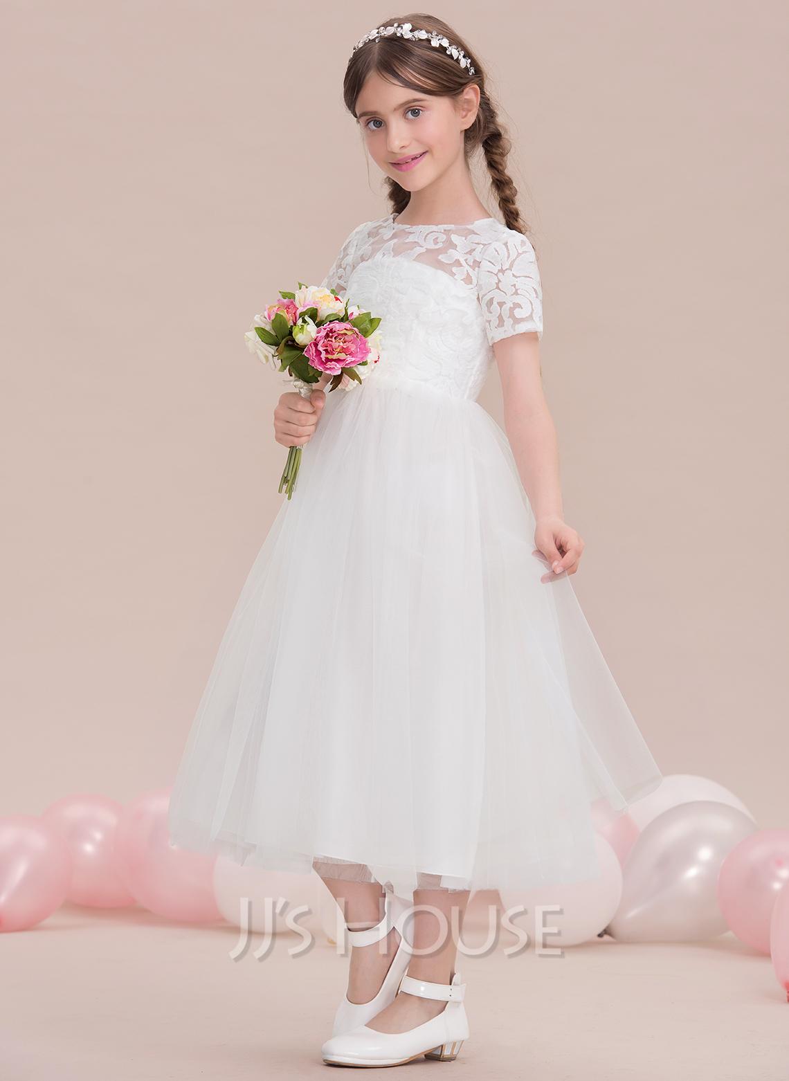 A-Line Scoop Neck Tea-Length Tulle Junior Bridesmaid Dress