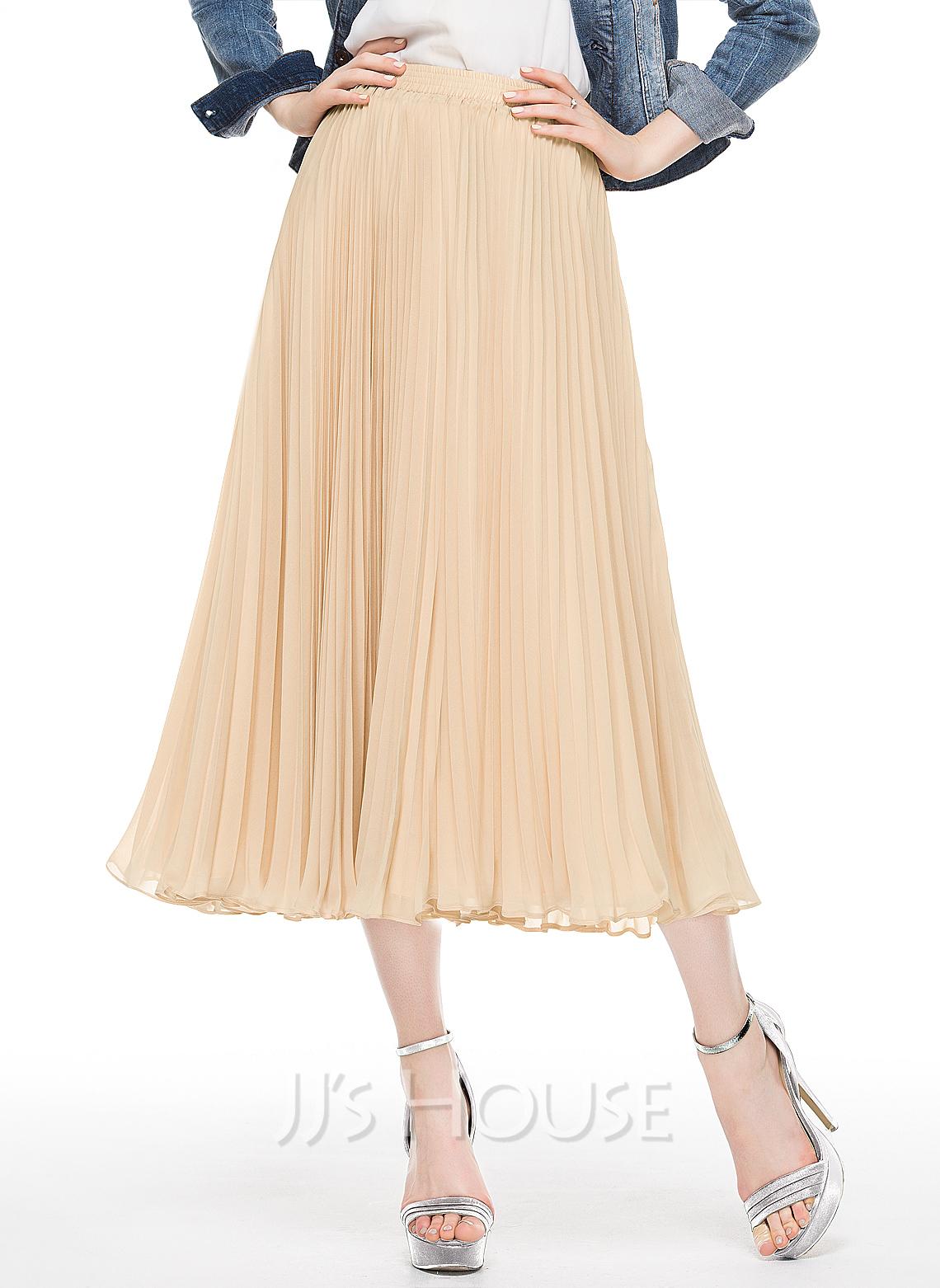 A-Line/Princess Tea-Length Chiffon Cocktail Skirt With Pleated