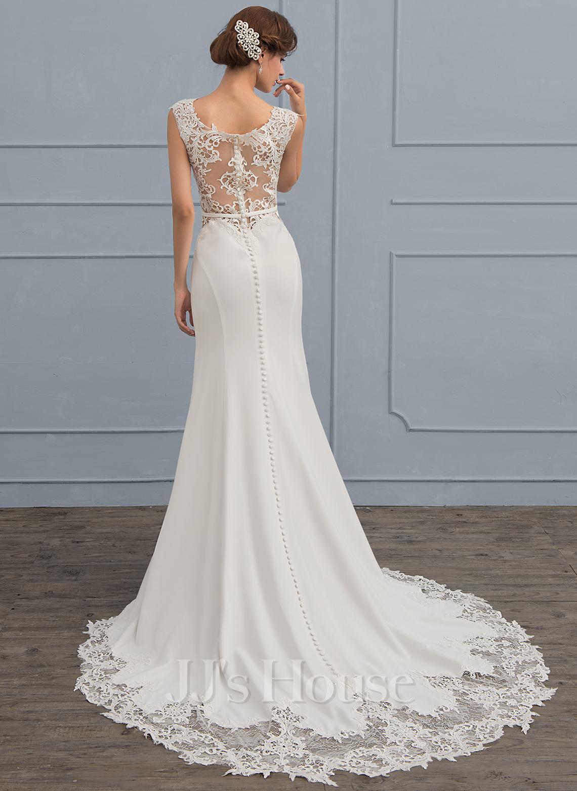Trumpet/Mermaid Court Train Stretch Crepe Wedding Dress