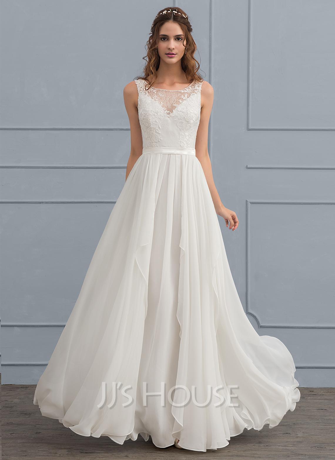 A-Line Illusion Floor-Length Chiffon Wedding Dress With Cascading Ruffles