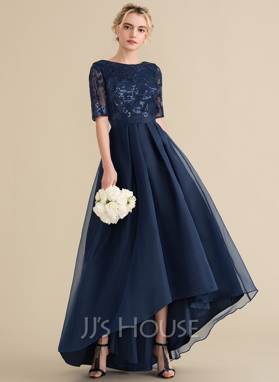 A-Line Scoop Neck Asymmetrical Organza Sequined Evening Dress