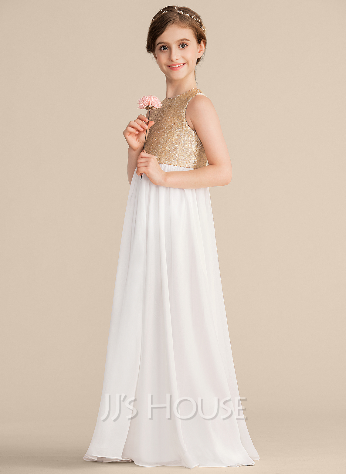 A-Line Scoop Neck Floor-Length Chiffon Sequined Junior Bridesmaid Dress