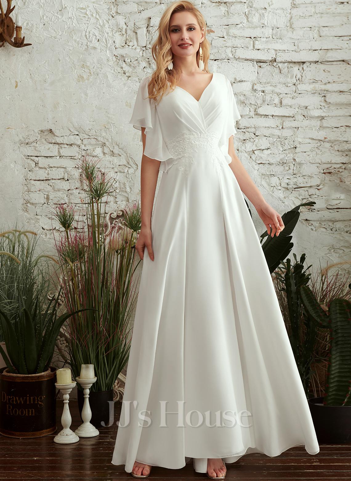 A-Formet V-hals Gulvlengde Brudekjole med Blonder Splittet Front