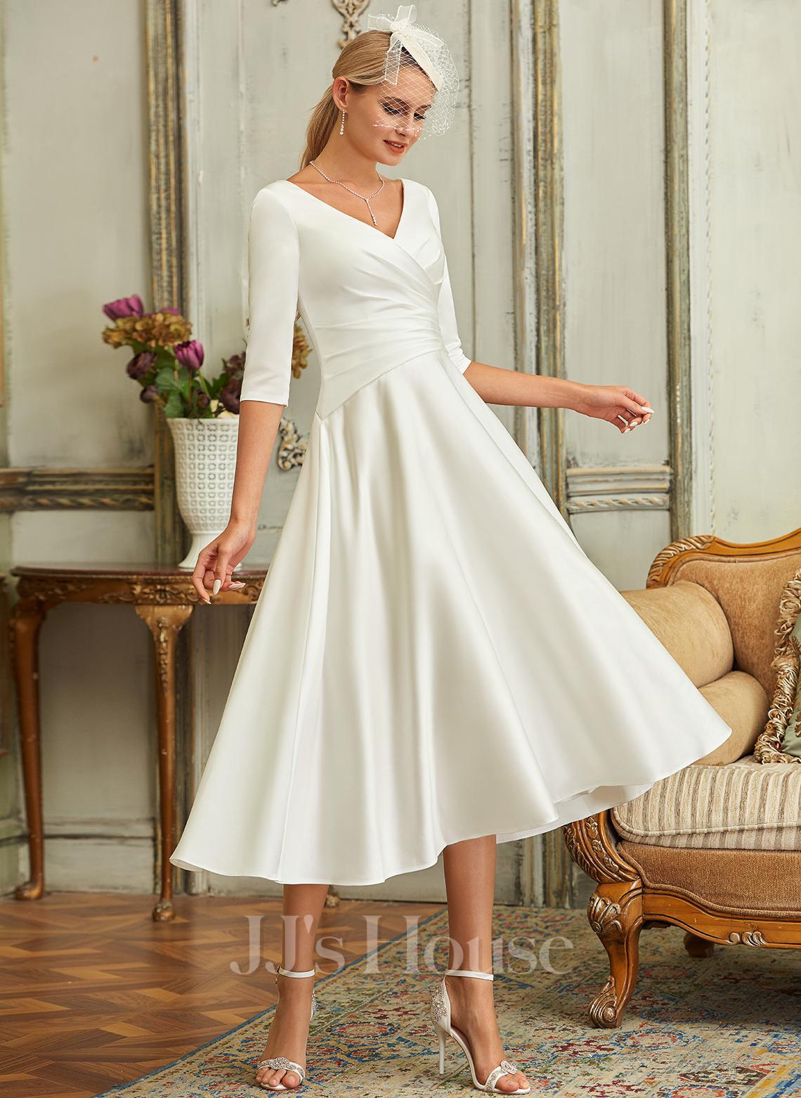 A-Line V-neck Tea-Length Satin Wedding Dress