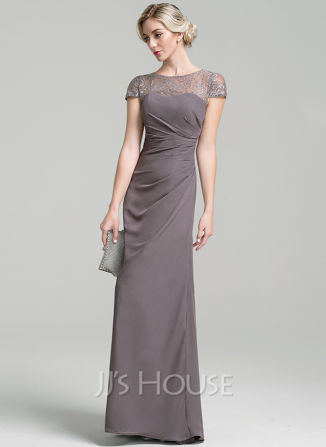 Sheath/Column Scoop Neck Floor-Length Chiffon Mother of the Bride Dress With Ruffle