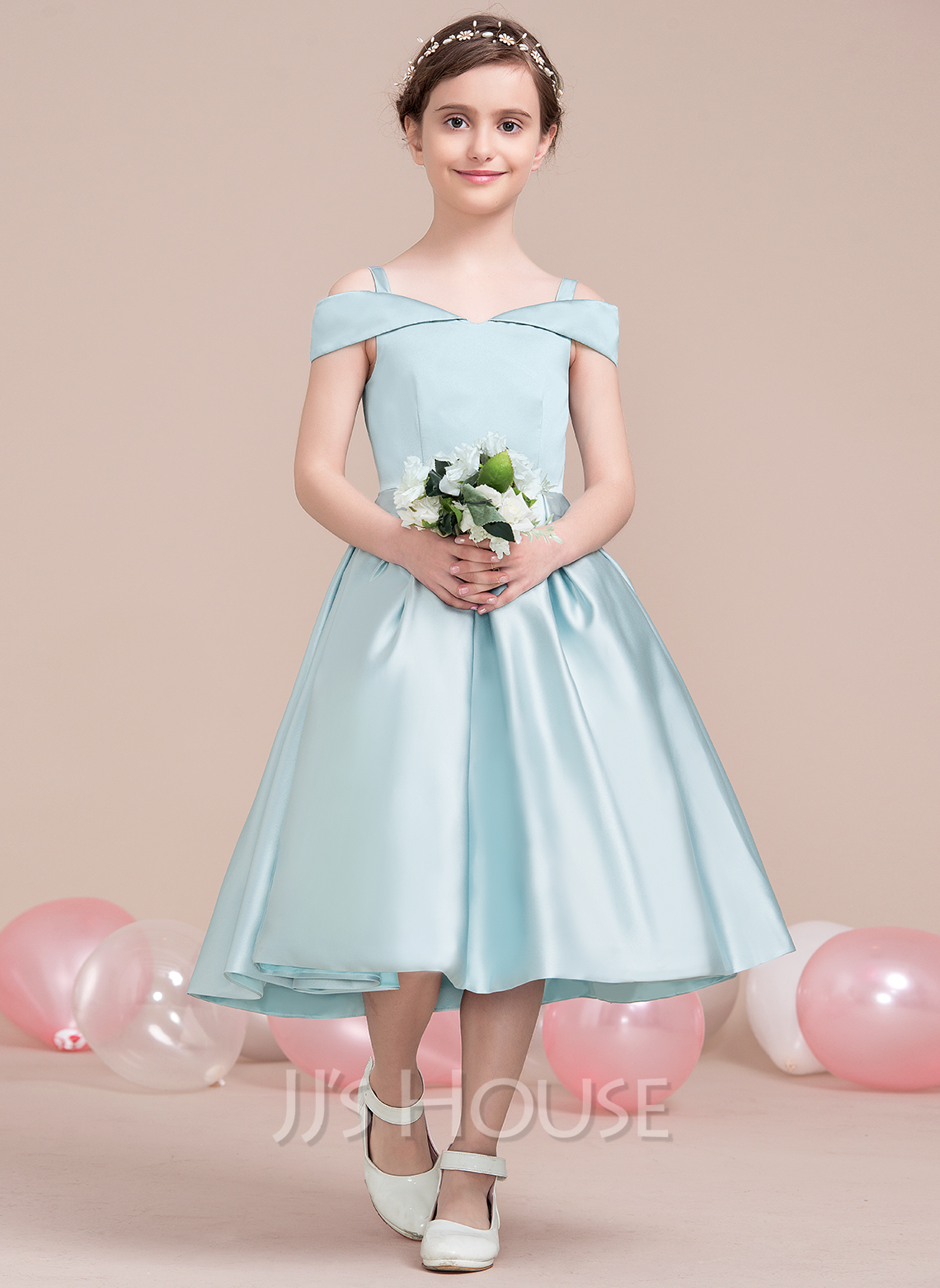 A-Line Off-the-Shoulder Tea-Length Satin Junior Bridesmaid Dress