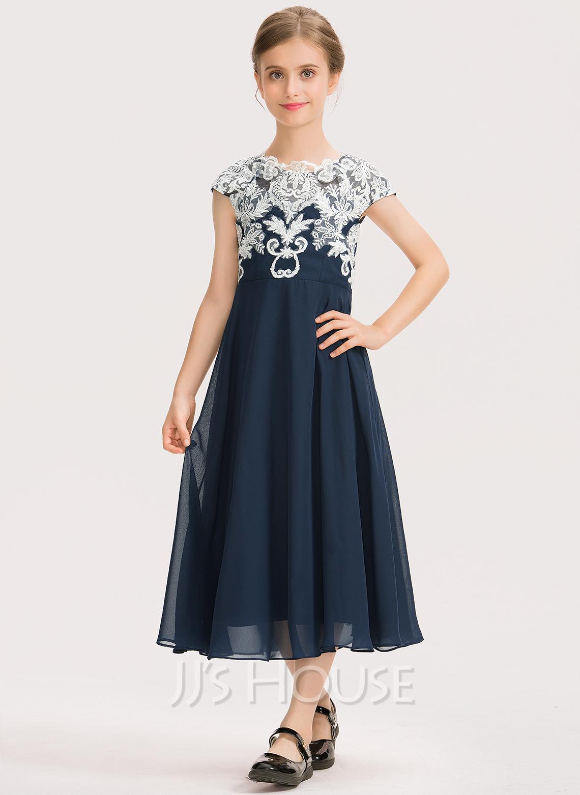 A-Line Scoop Neck Tea-Length Chiffon Lace Junior Bridesmaid Dress